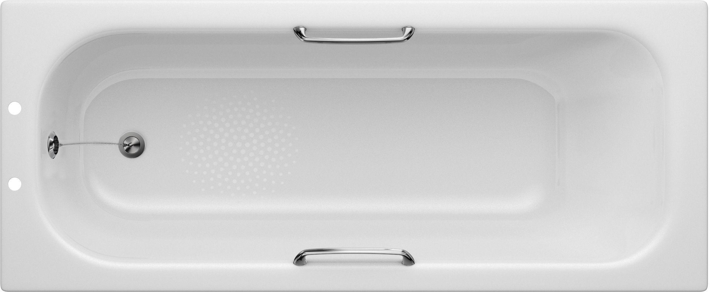 Lavari Handled 2 Tap Hole Steel Bath with Front Panel