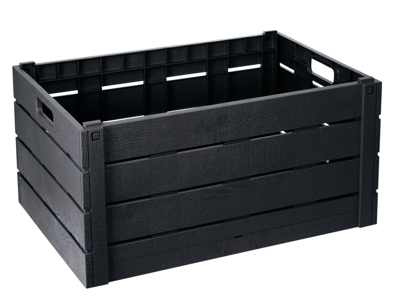 Strata 60 Litre Wood Effect Folding Crate - Charcoal