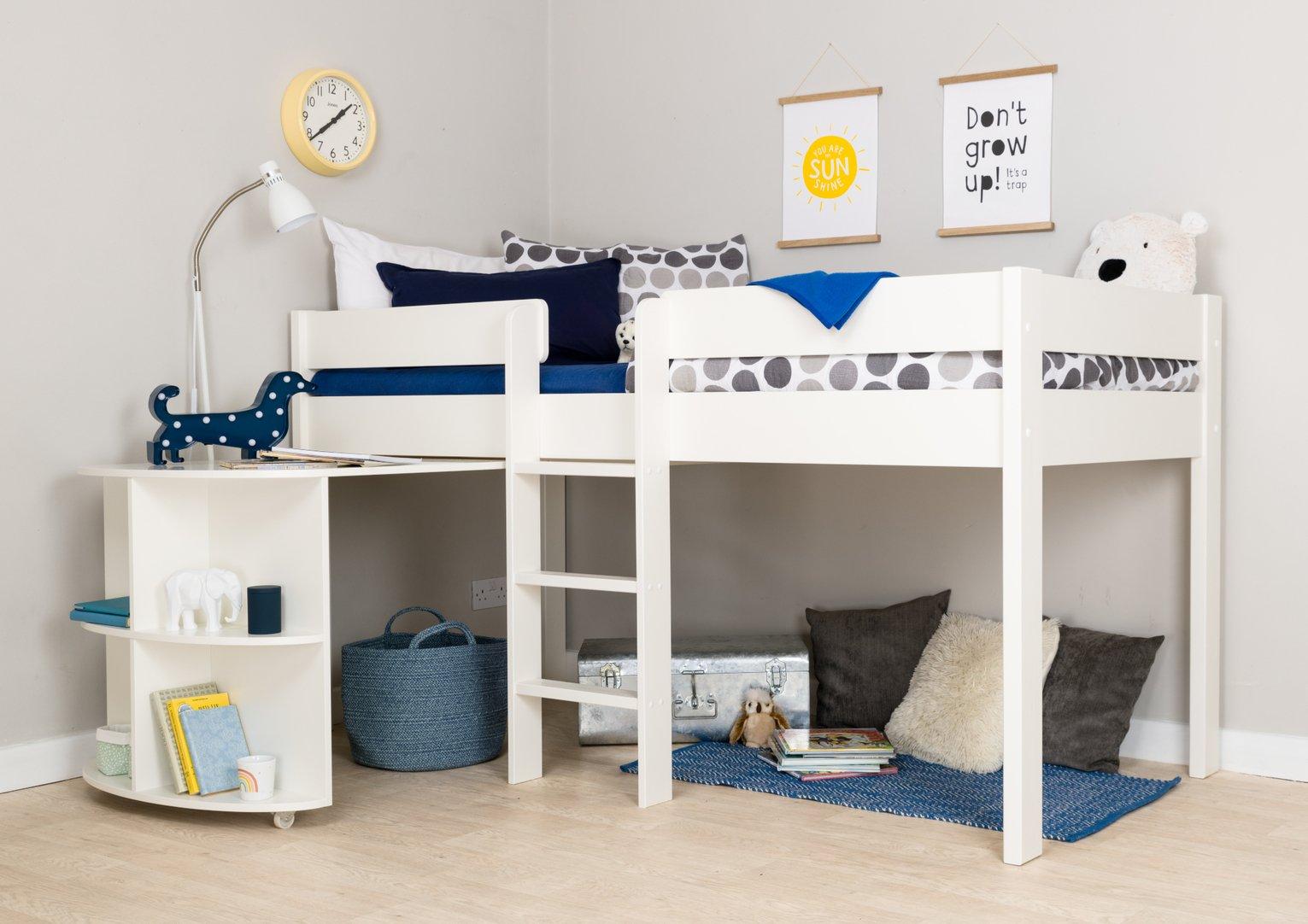Stompa White Mid Sleeper Bed Frame & Desk