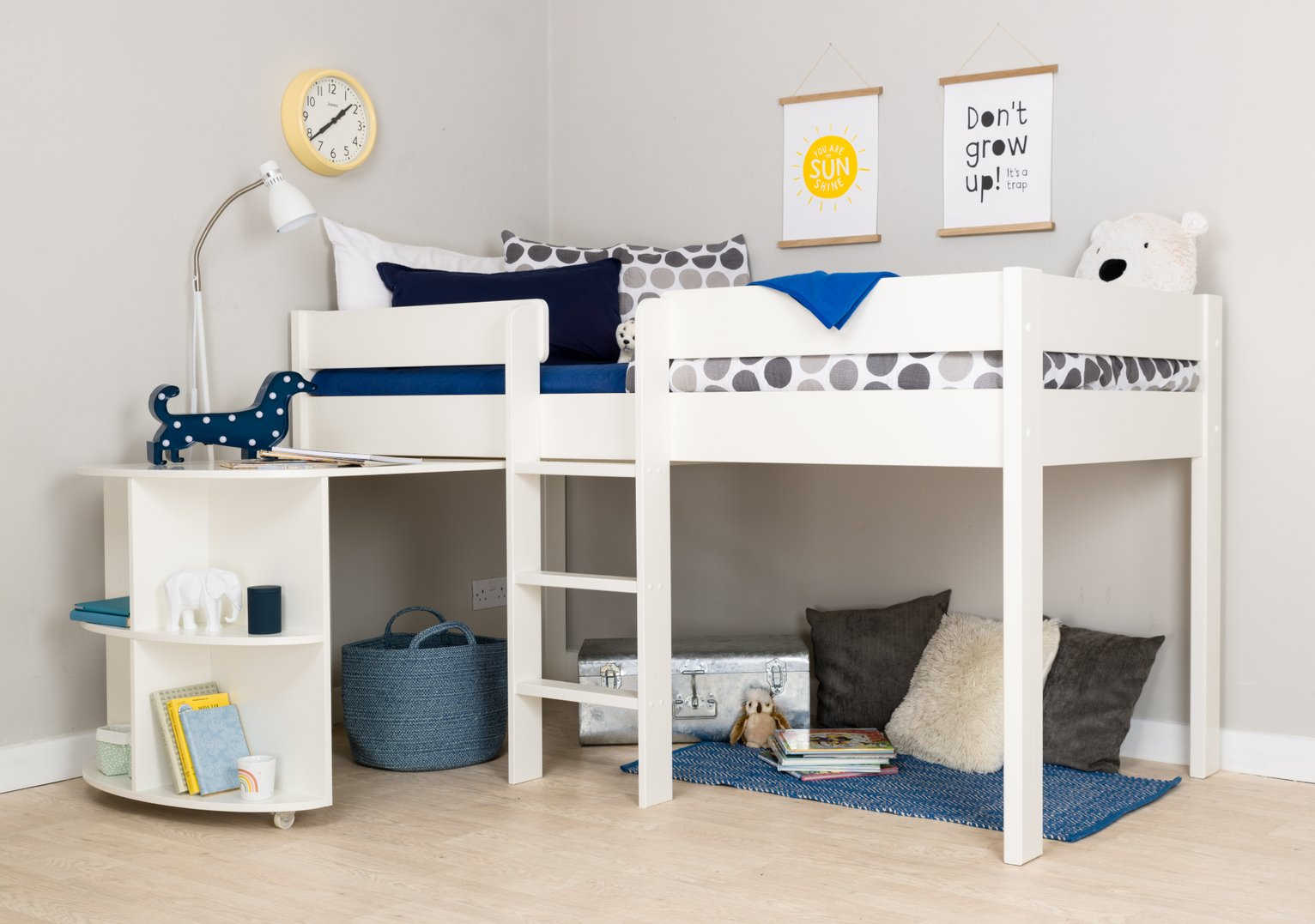 Stompa White Mid Sleeper Bed, Desk & Mattress