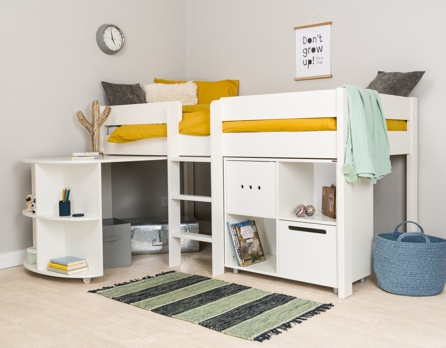 Stompa White Mid Sleeper Bed Frame, Desk & Cube Unit