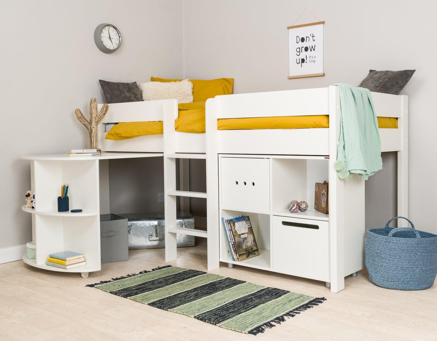 Stompa Mid Sleeper Bed, Desk, Cube Unit & Mattress