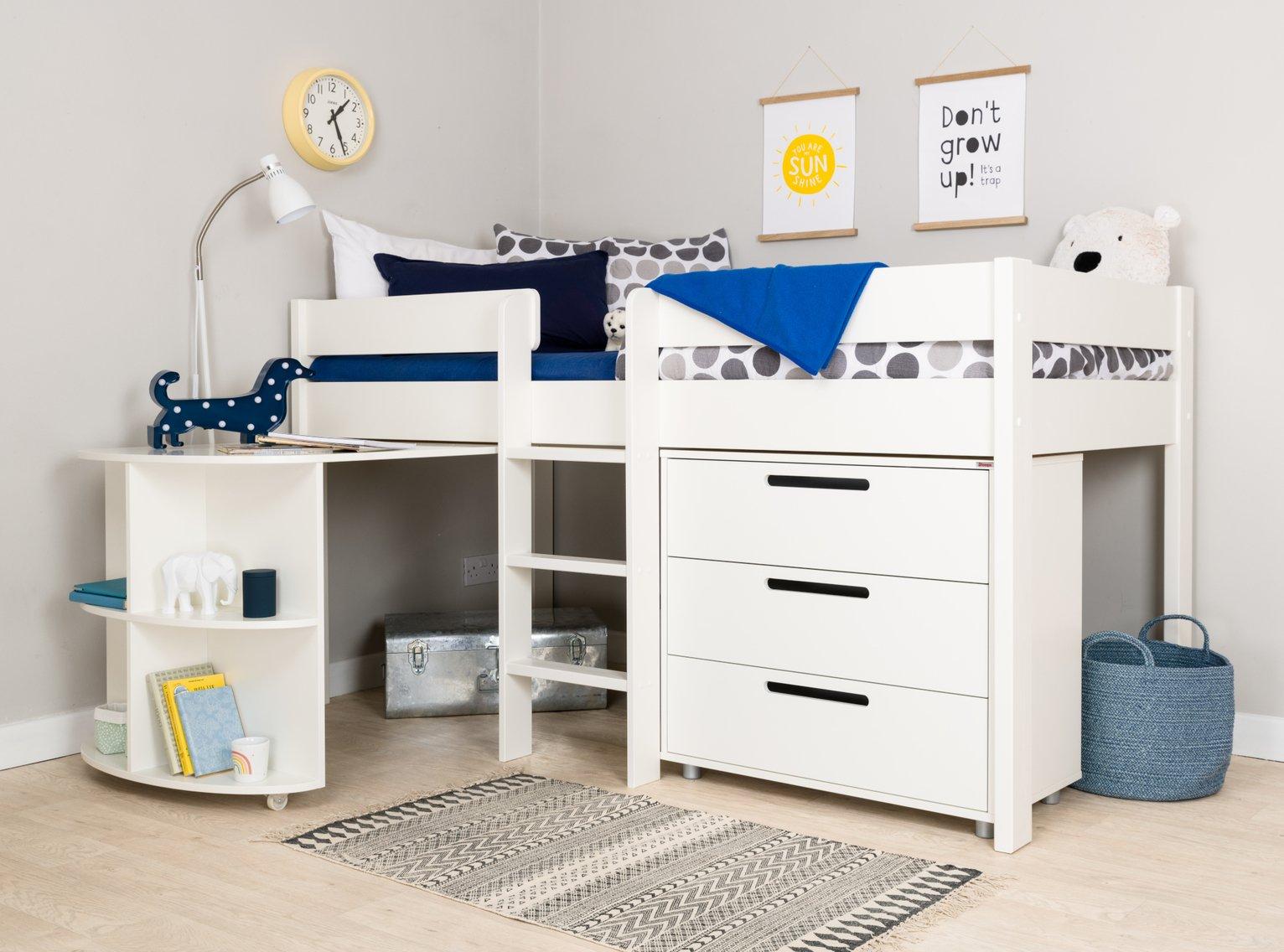 Stompa White Mid Sleeper Bed Frame, Desk & Chest