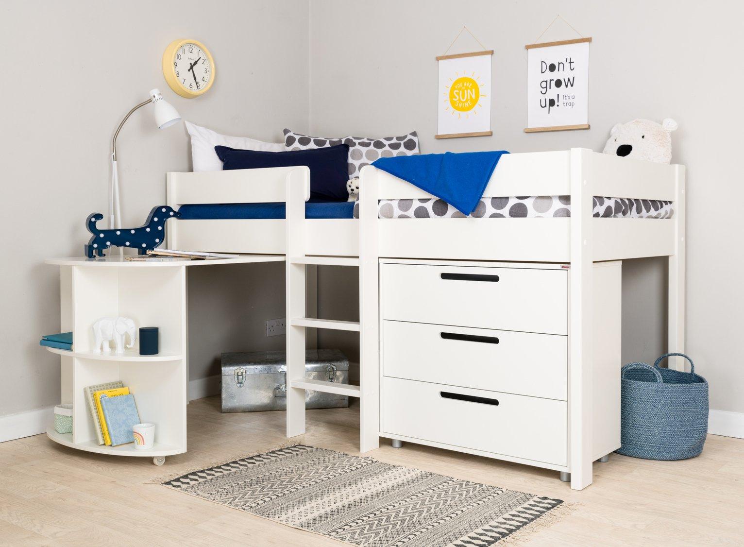 Stompa White Mid Sleeper Bed, Desk, Chest & Mattress