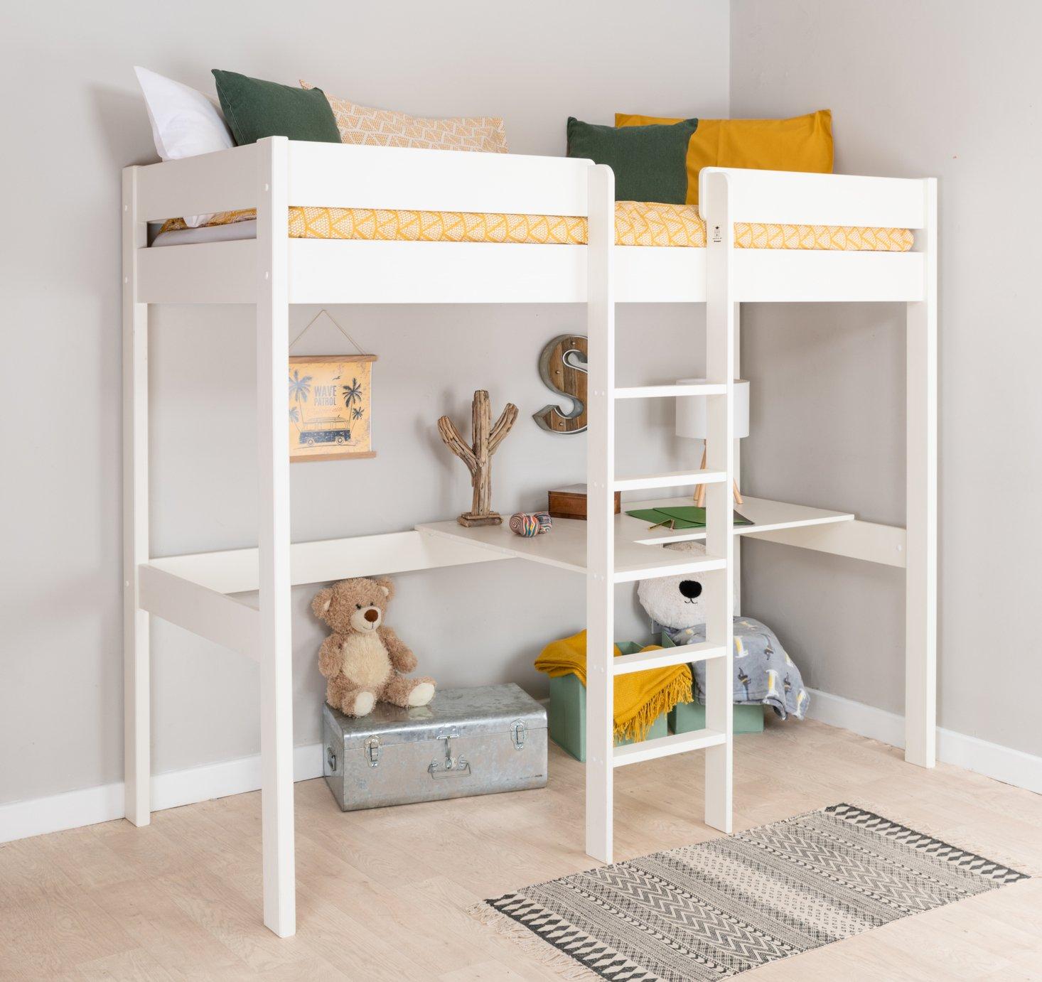 Stompa White High Sleeper Bed Frame & Desk