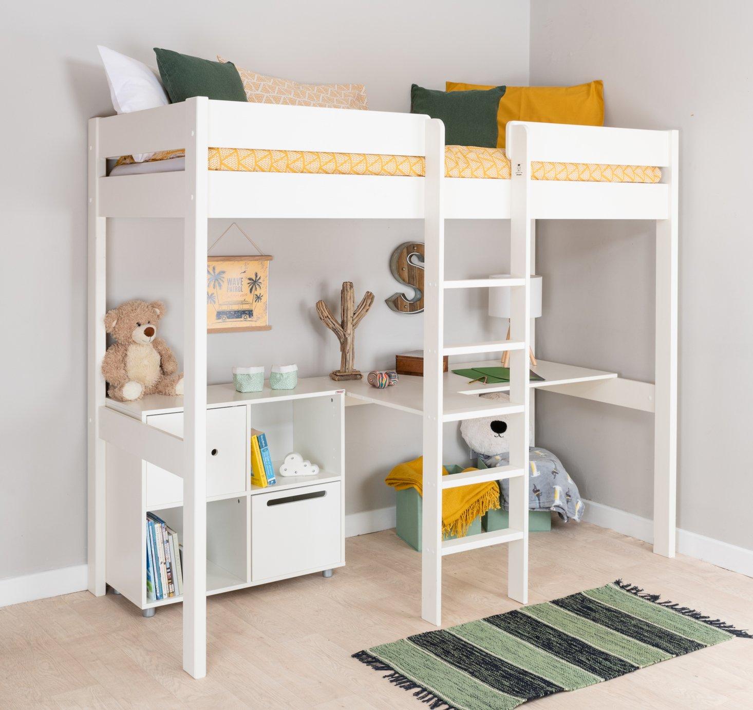 Stompa White High Sleeper Bed Frame, Desk & Cube Unit
