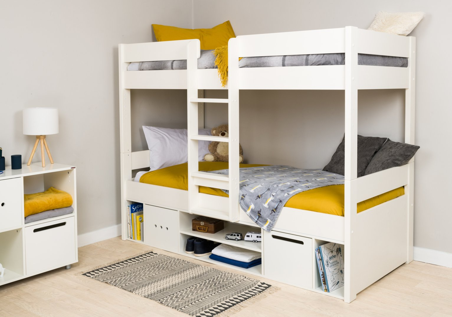Stompa White Bunk Bed with Storage & Mattress