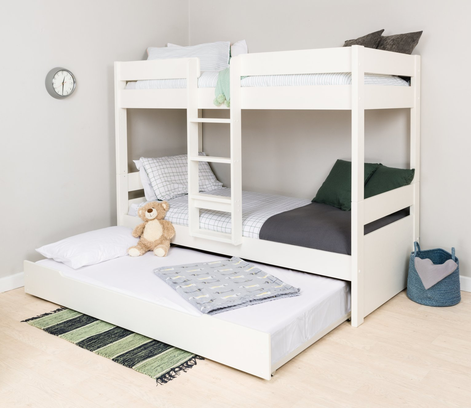 Stompa White Bunk Bed, Trundle & Mattress
