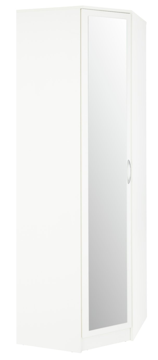 Argos Home Cheval 1 Door Mirrored Corner Wardrobe - White