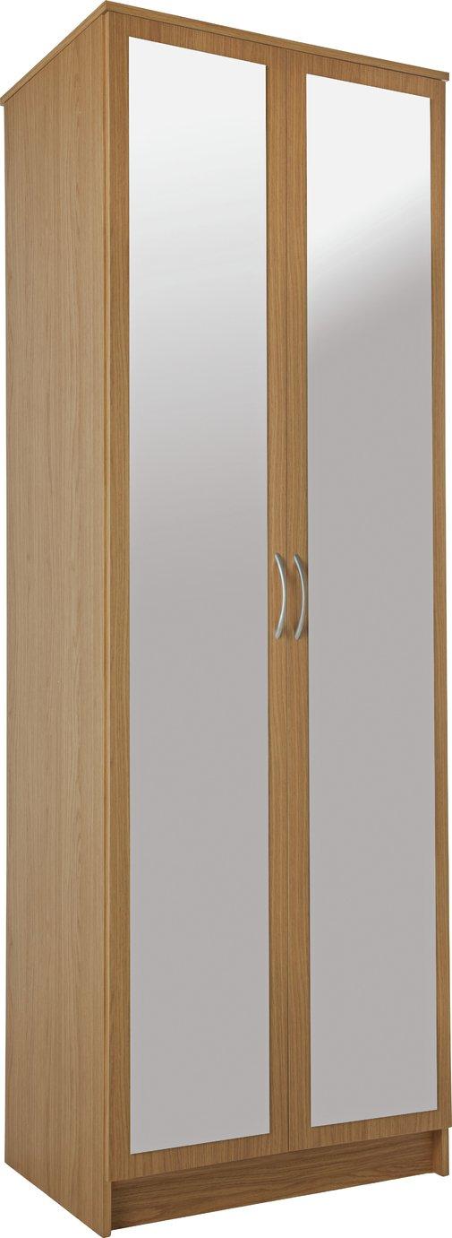 Argos Home Cheval 2 Door Mirrored Wardrobe - Oak Effect
