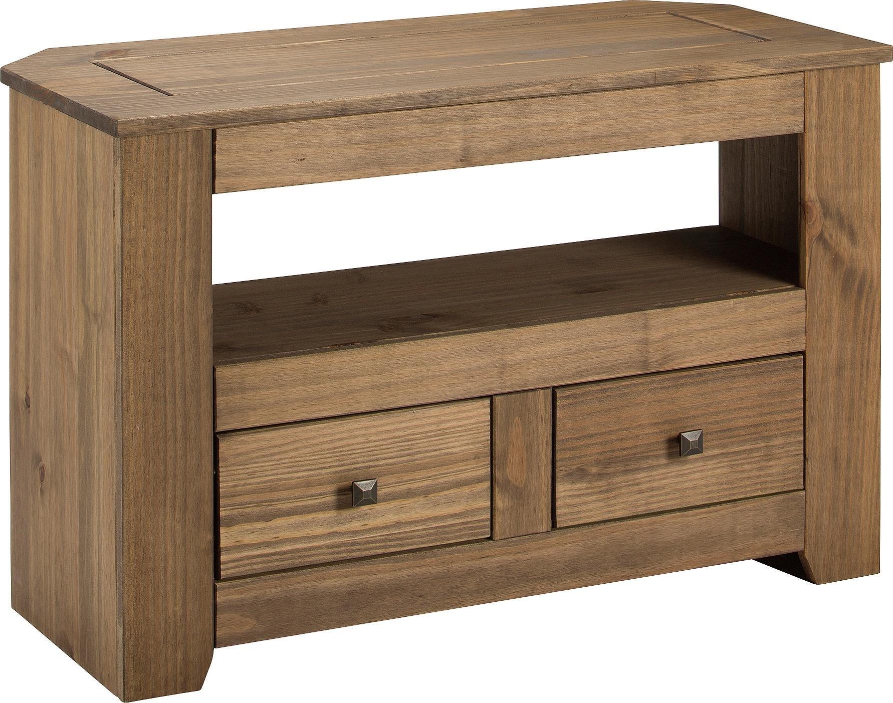 Argos Home Amersham 2 Drawer Solid Wood TV Unit - Dark Pine