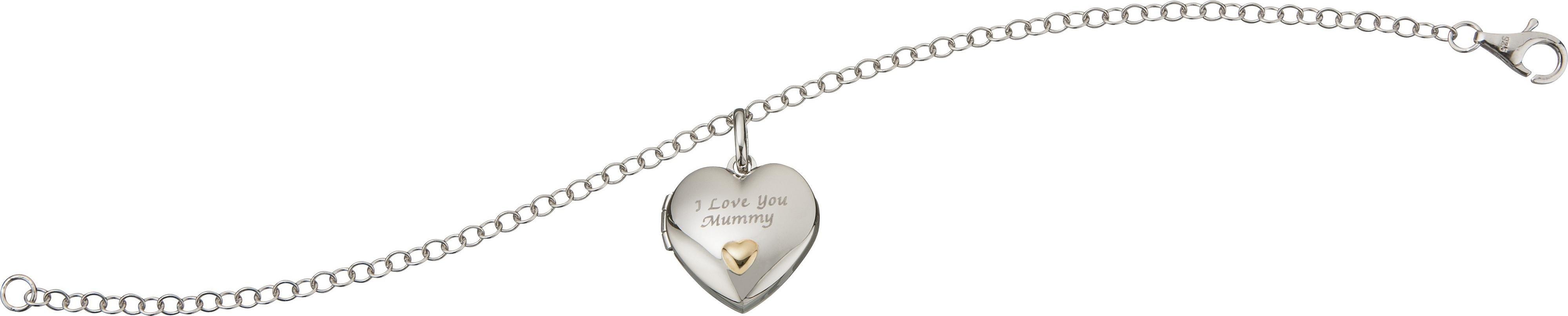 Sterling Silver - 2 Coloured 'I Love You Mummy' Heart Bracelet