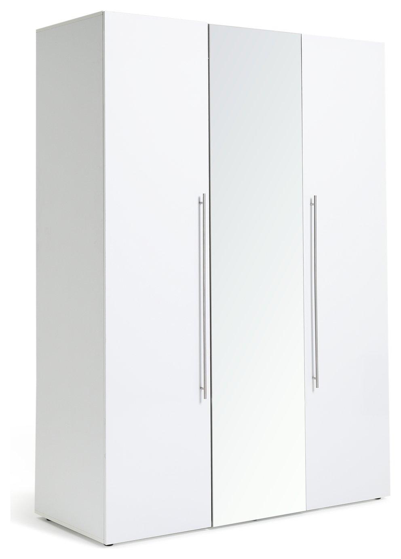 Argos Home Atlas 3 Door Mirrored Tall Wardrobe - White at Argos