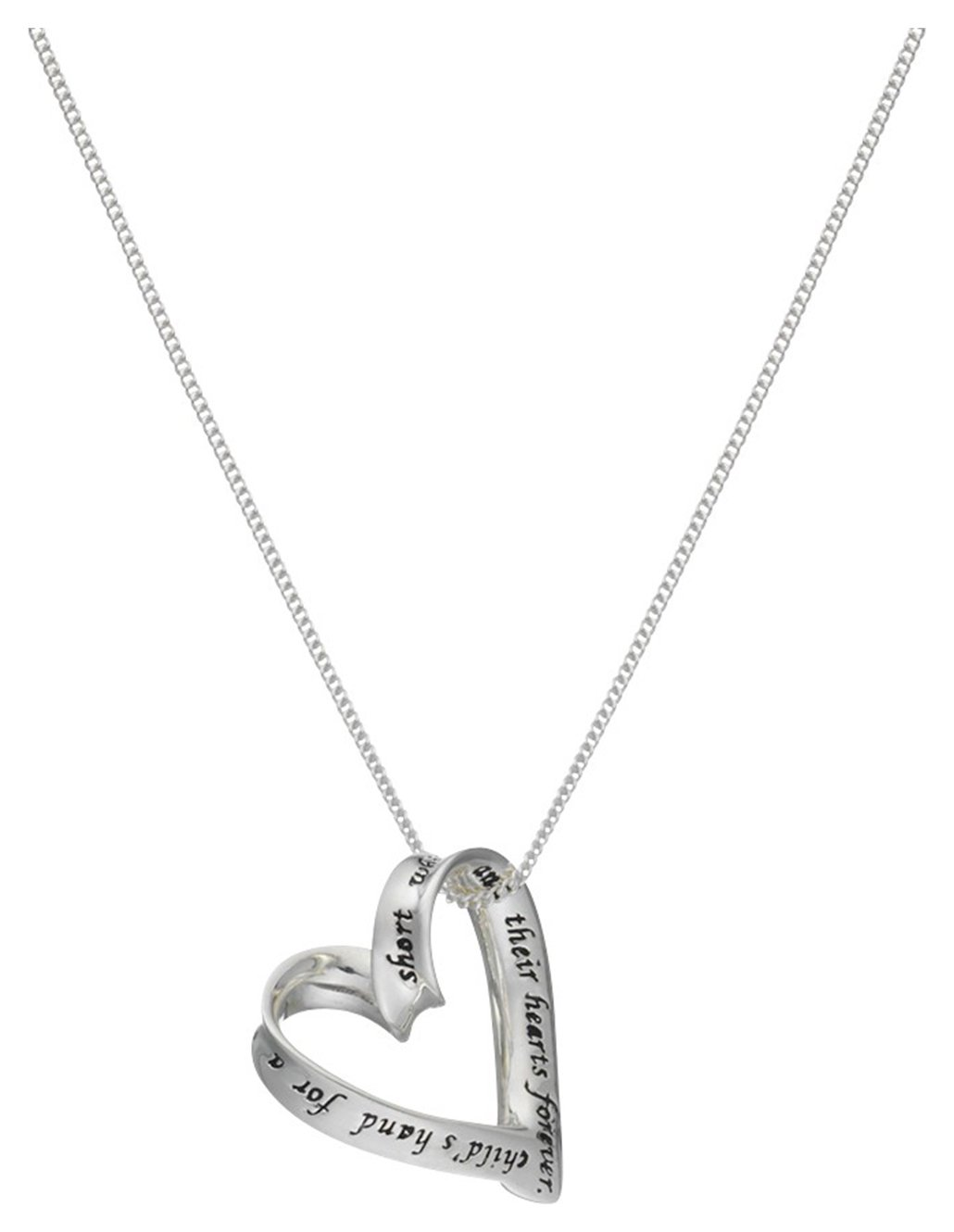 Moon & Back Sterling Silver Heart Mum Message Pendant