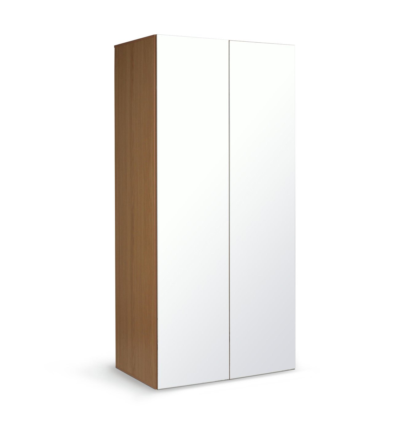 Argos Home Atlas 2 Door Mirrored Tall Wardrobe - Oak Effect