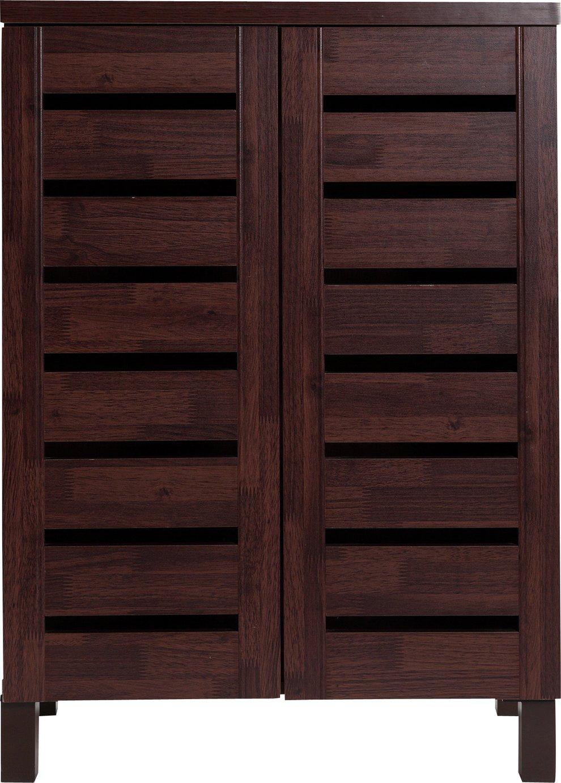Argos Home Slatted Shoe Storage Cabinet - Mahogany Effect