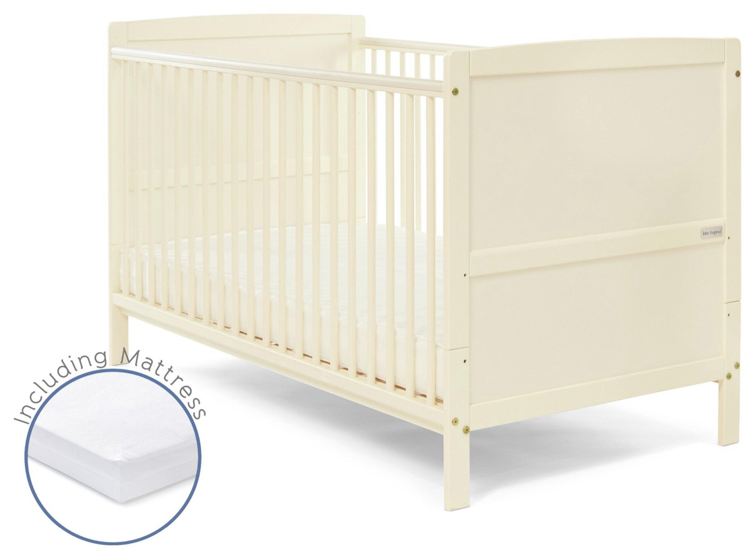 Baby Elegance Travis Cot Bed with Mattress - Cream