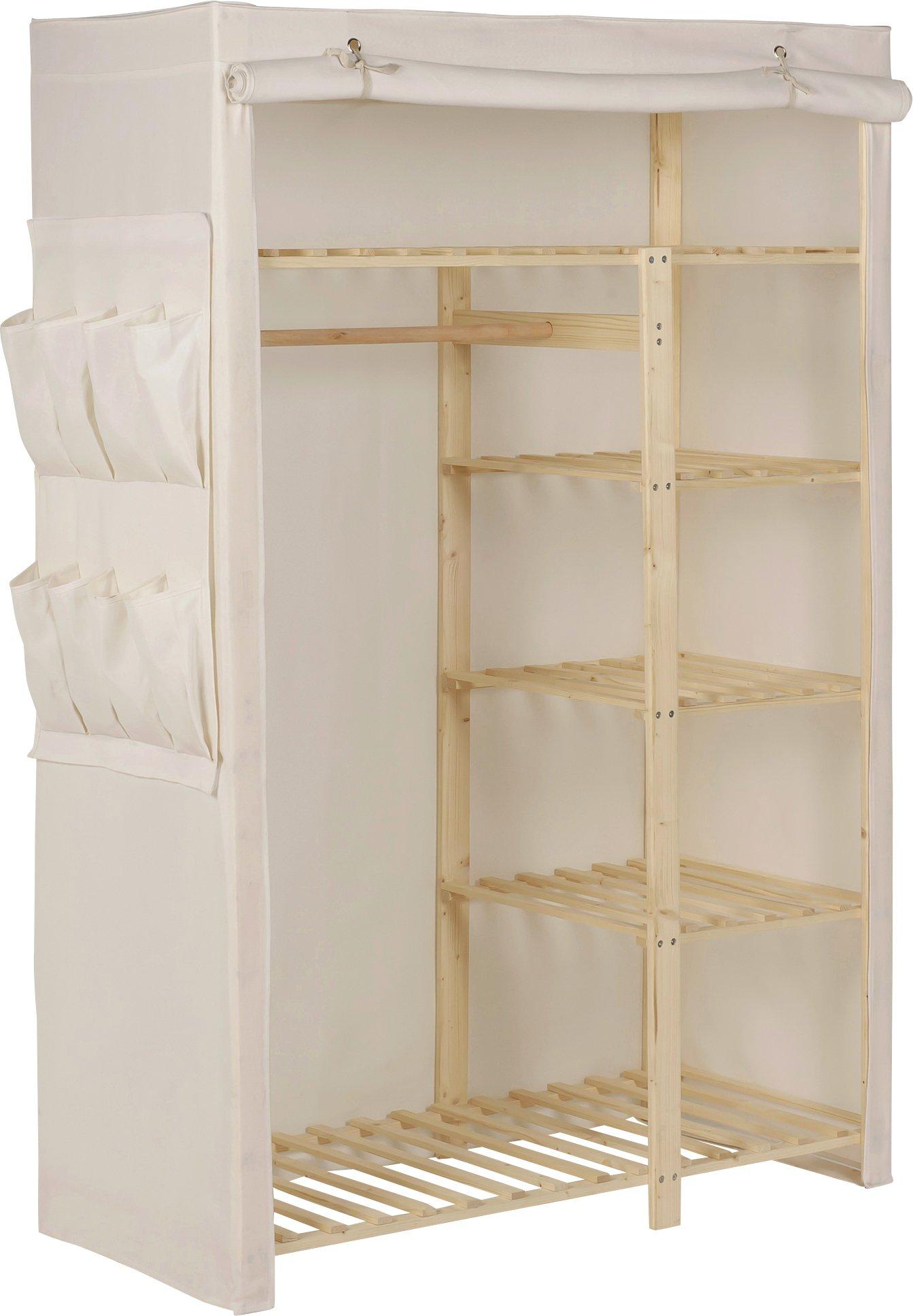 Argos Home Polycotton and Pine Double Wardrobe - Cream