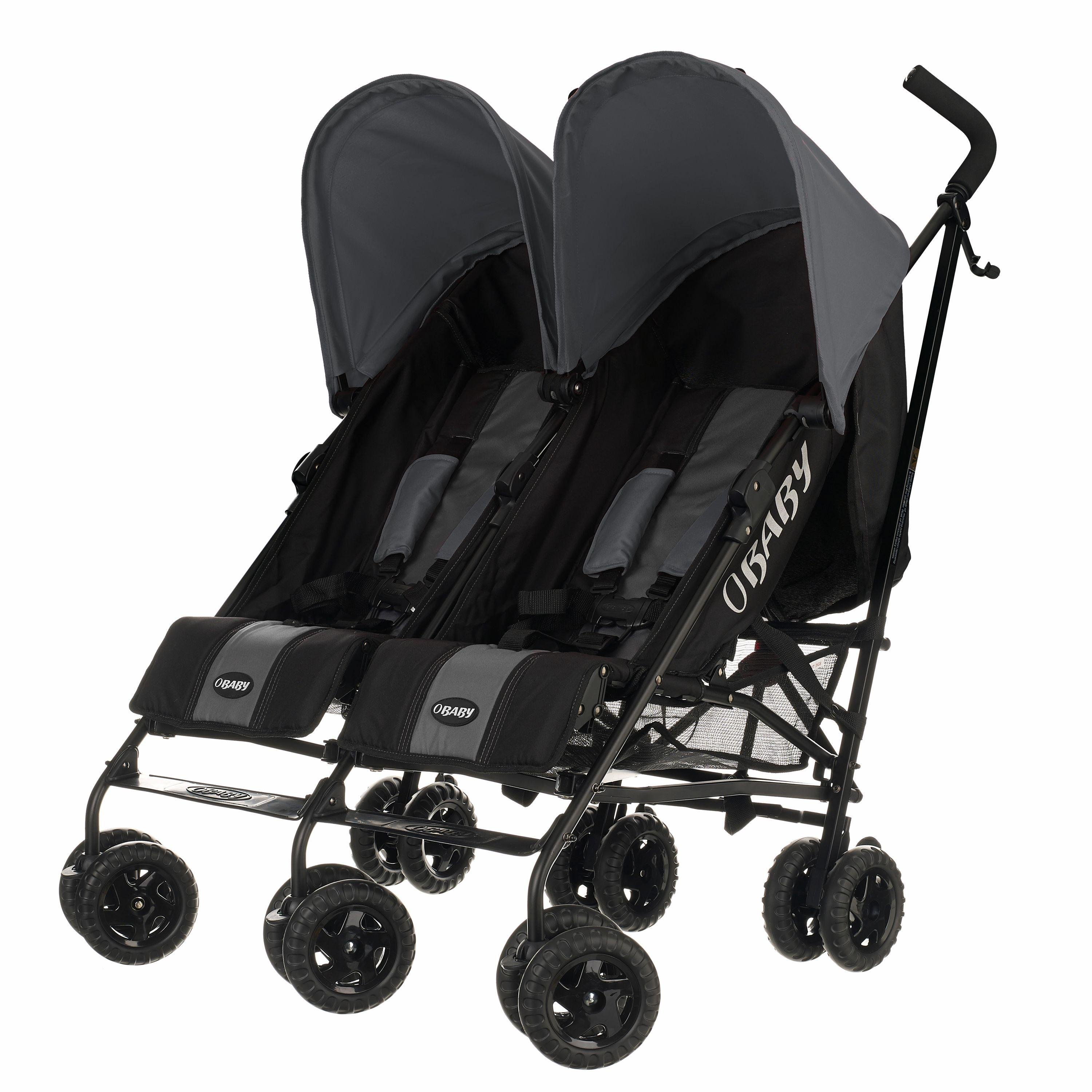 Obaby Apollo Black and Grey Twin Stroller - Grey.