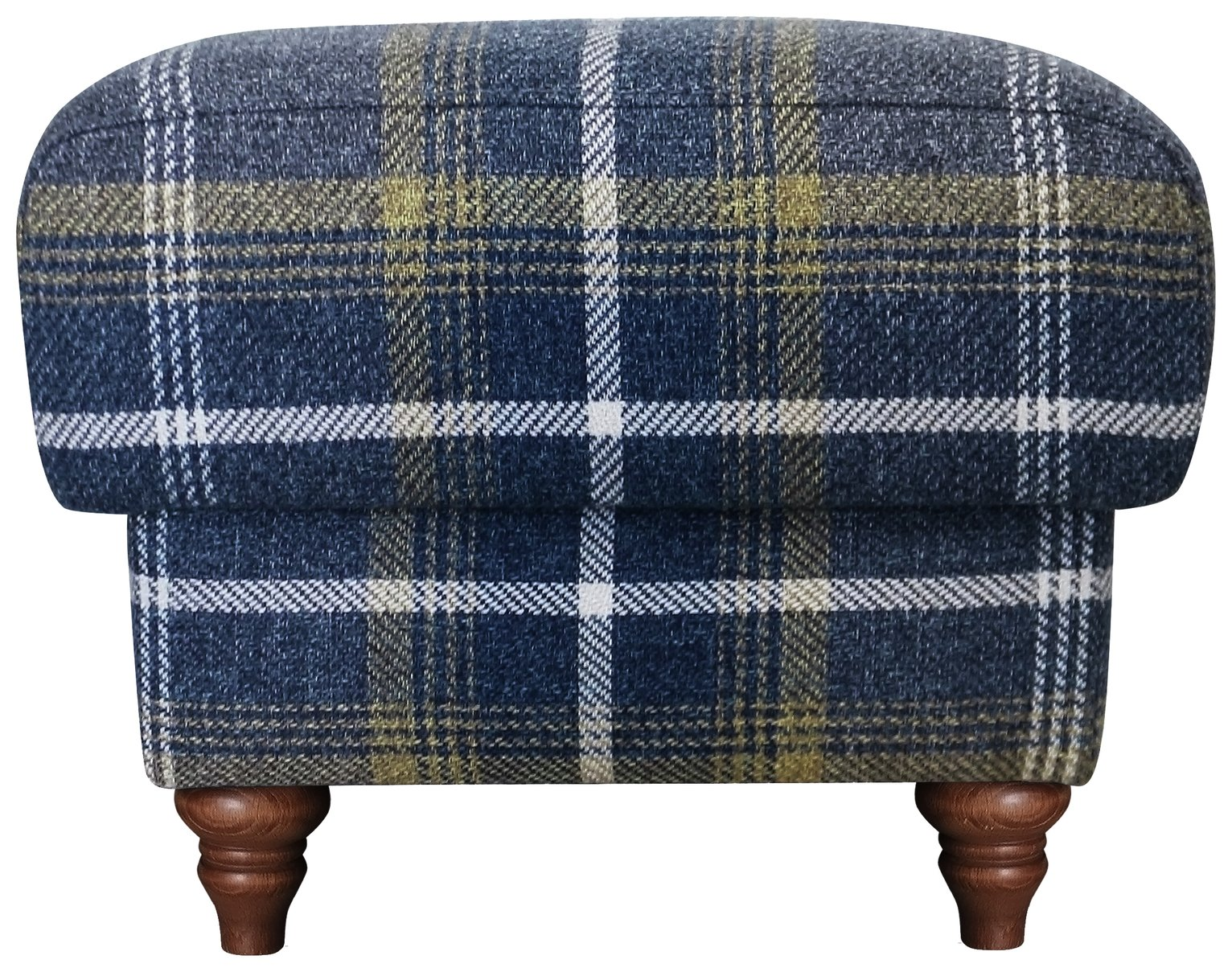Argos Home Argyll Fabric Storage Footstool - Blue & Yellow