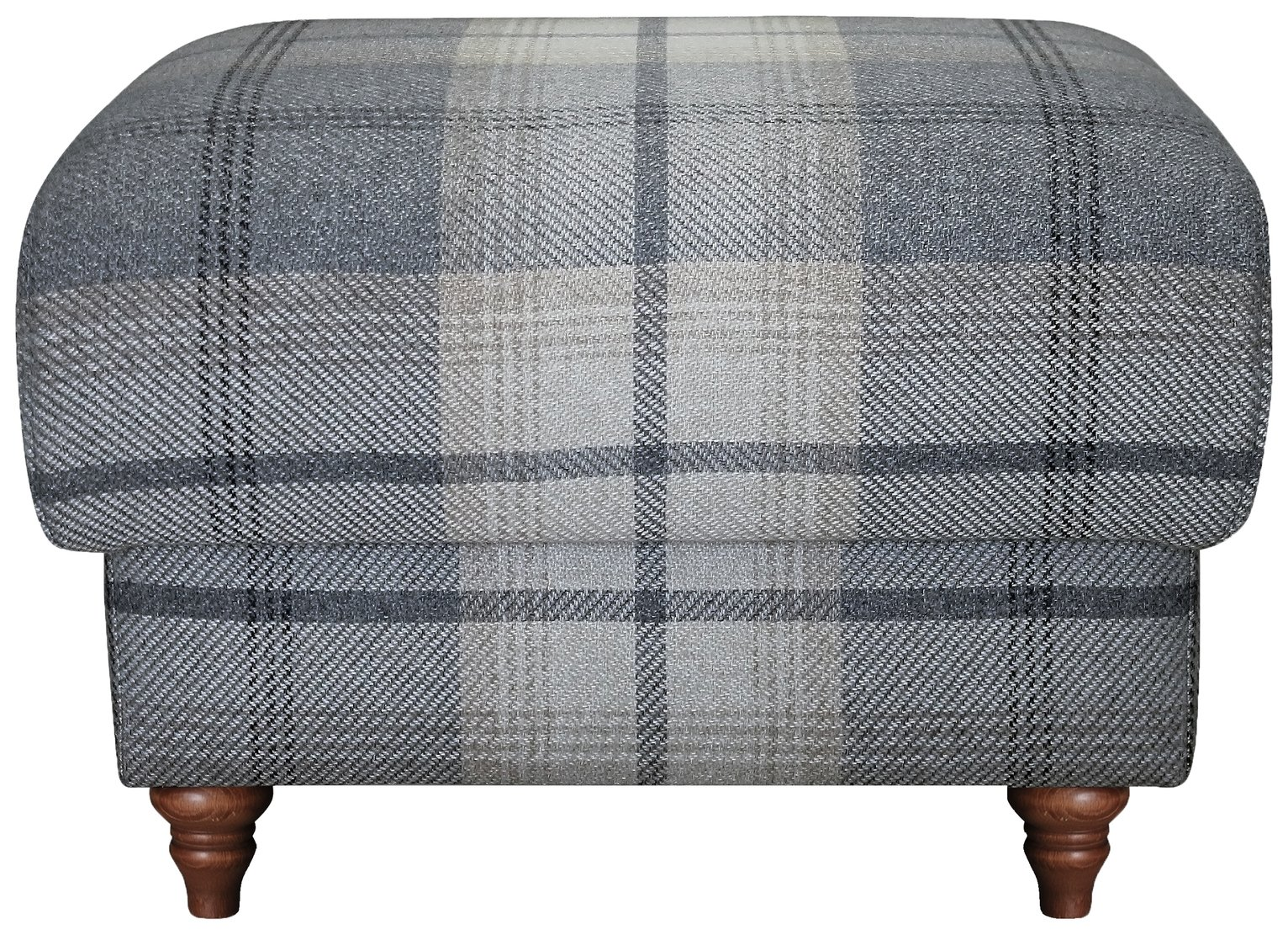Argos Home Argyll Fabric Storage Footstool -Light Grey Check
