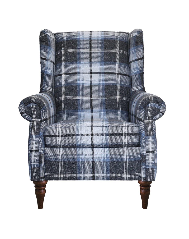 Argos Home Argyll Fabric High Back Chair - Charcoal & Blue