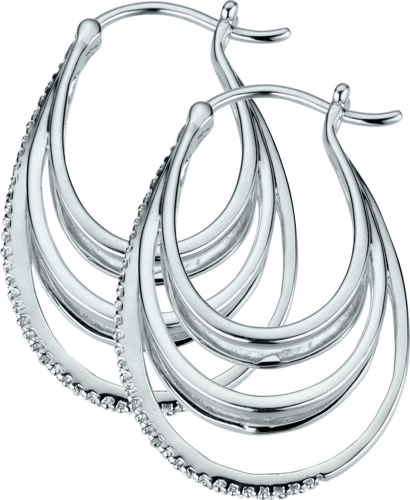 Sterling Silver - Diamond Creole Earrings.