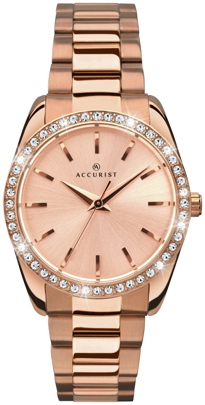 Accurist - Ladies Stone-Set Rose Gold Plated Bracelet - Watch