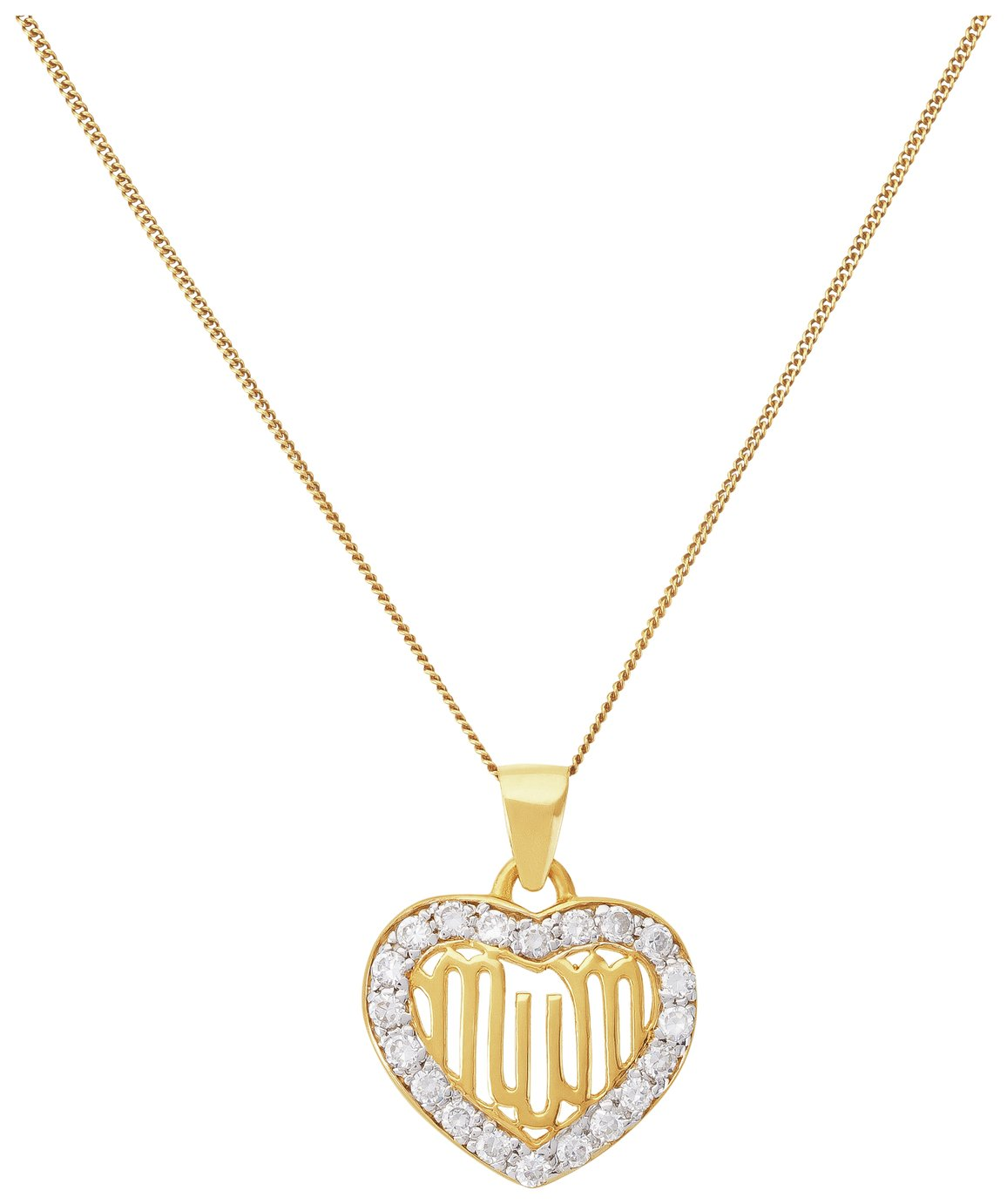 Moon & Back 9ct Gold Plated Silver CZ 'Mum' Heart Pendant