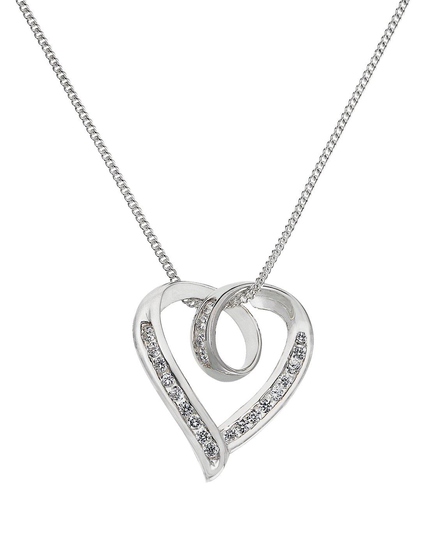 Sterling Silver - Cubic Zirconia Twist Heart Pendant.