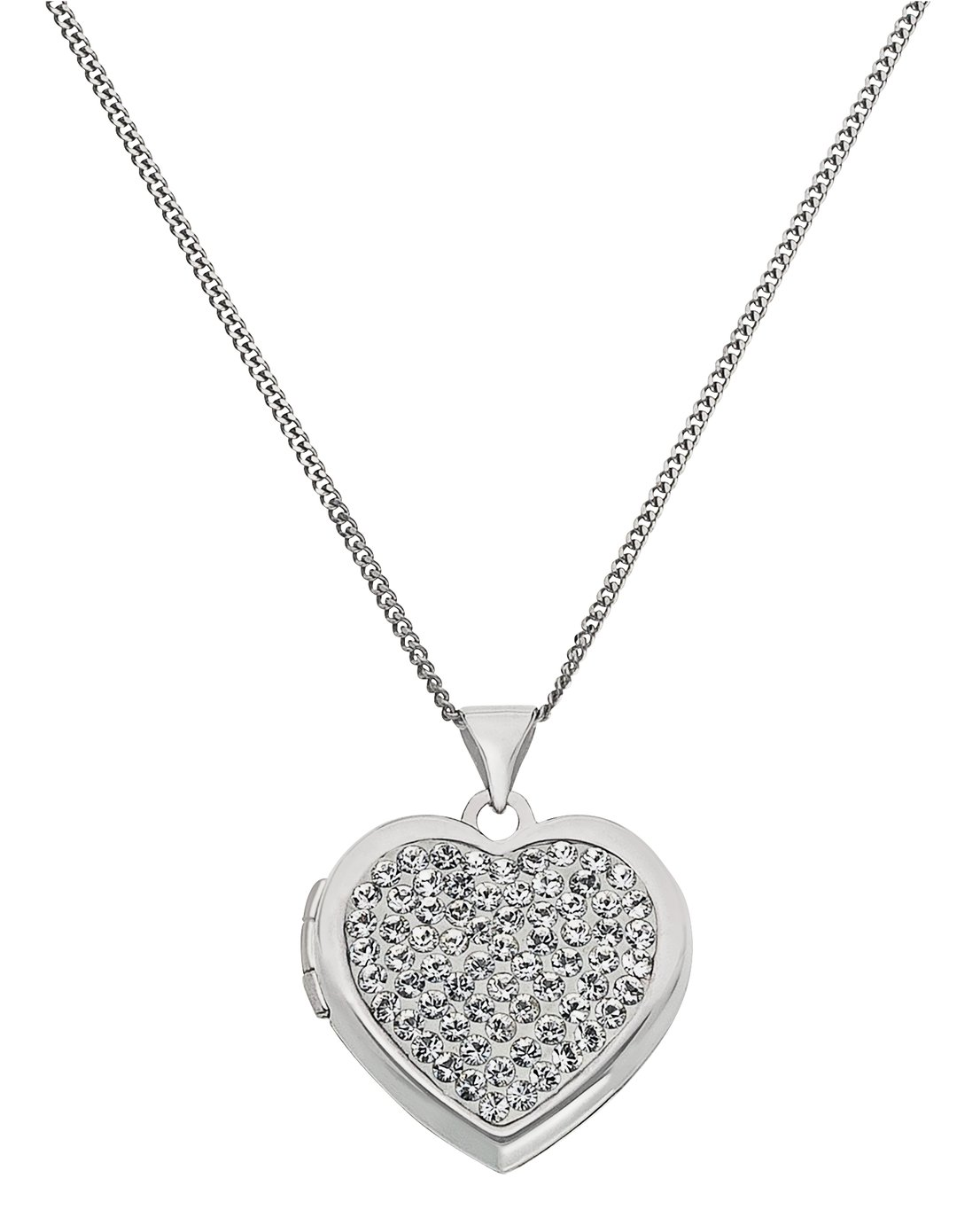 Moon & Back Sterling Silver Crystal Heart 2 Photo Locket