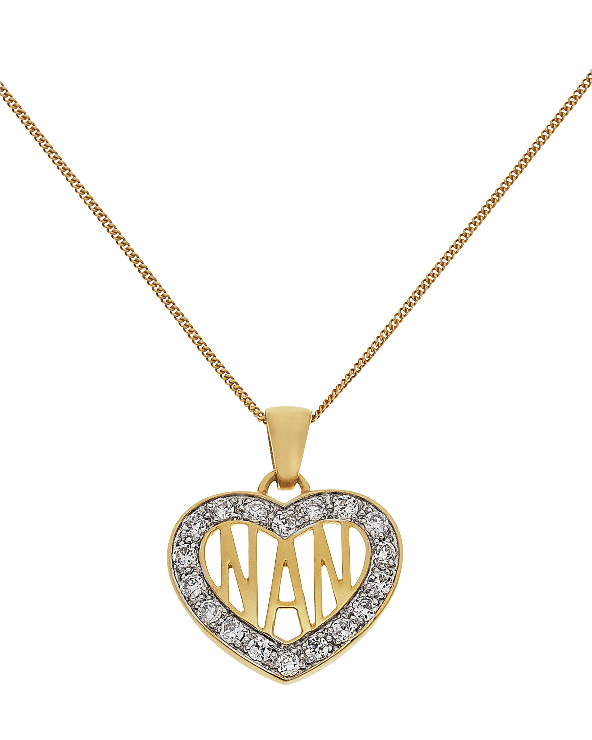 Moon & Back 9ct Gold Plated Silver CZ 'Nan' Heart Pendant