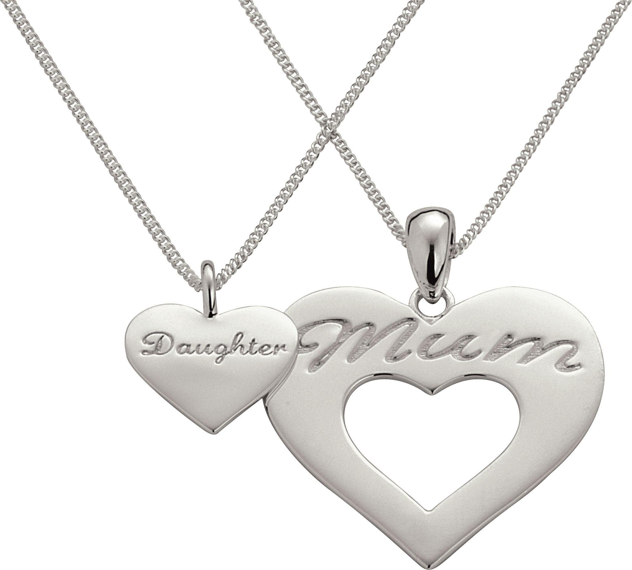 Moon & Back Sterling Silver Mum and Daughter Pendant Set