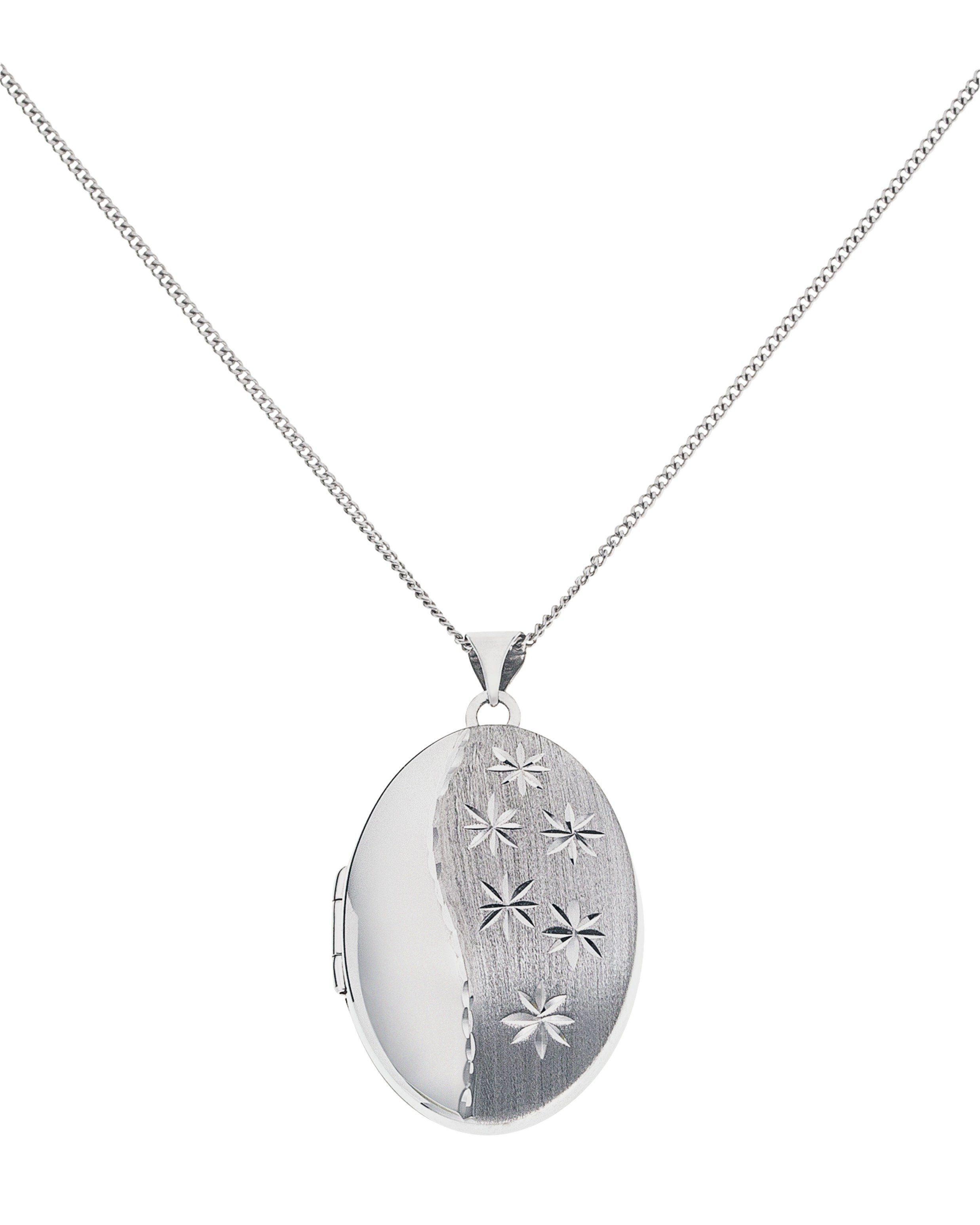 Moon & Back Silver Diamond Cut Sandblast Oval 2 Photo Locket