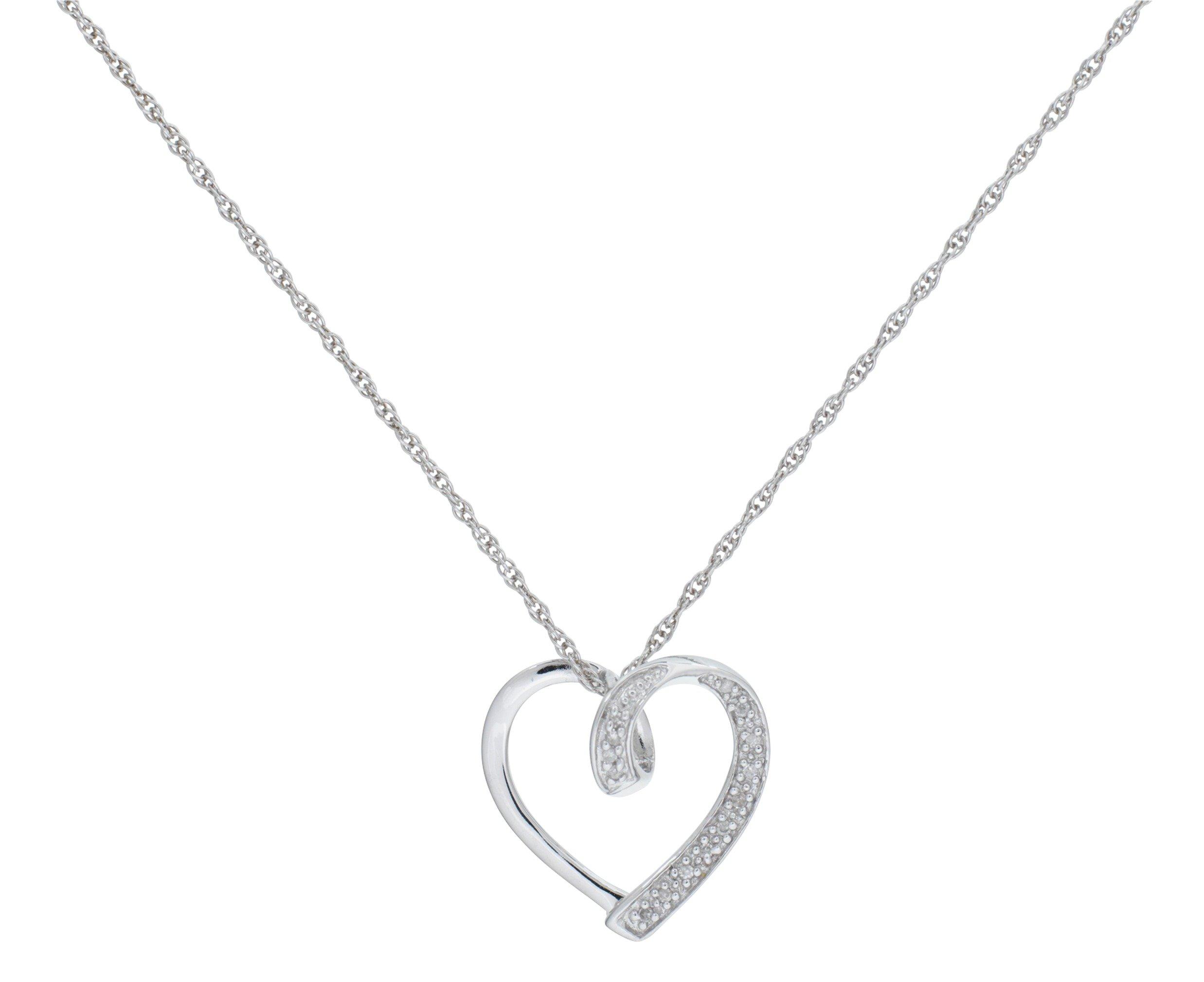 Sterling Silver - Diamond Heart Pave Set Slide Pendant.
