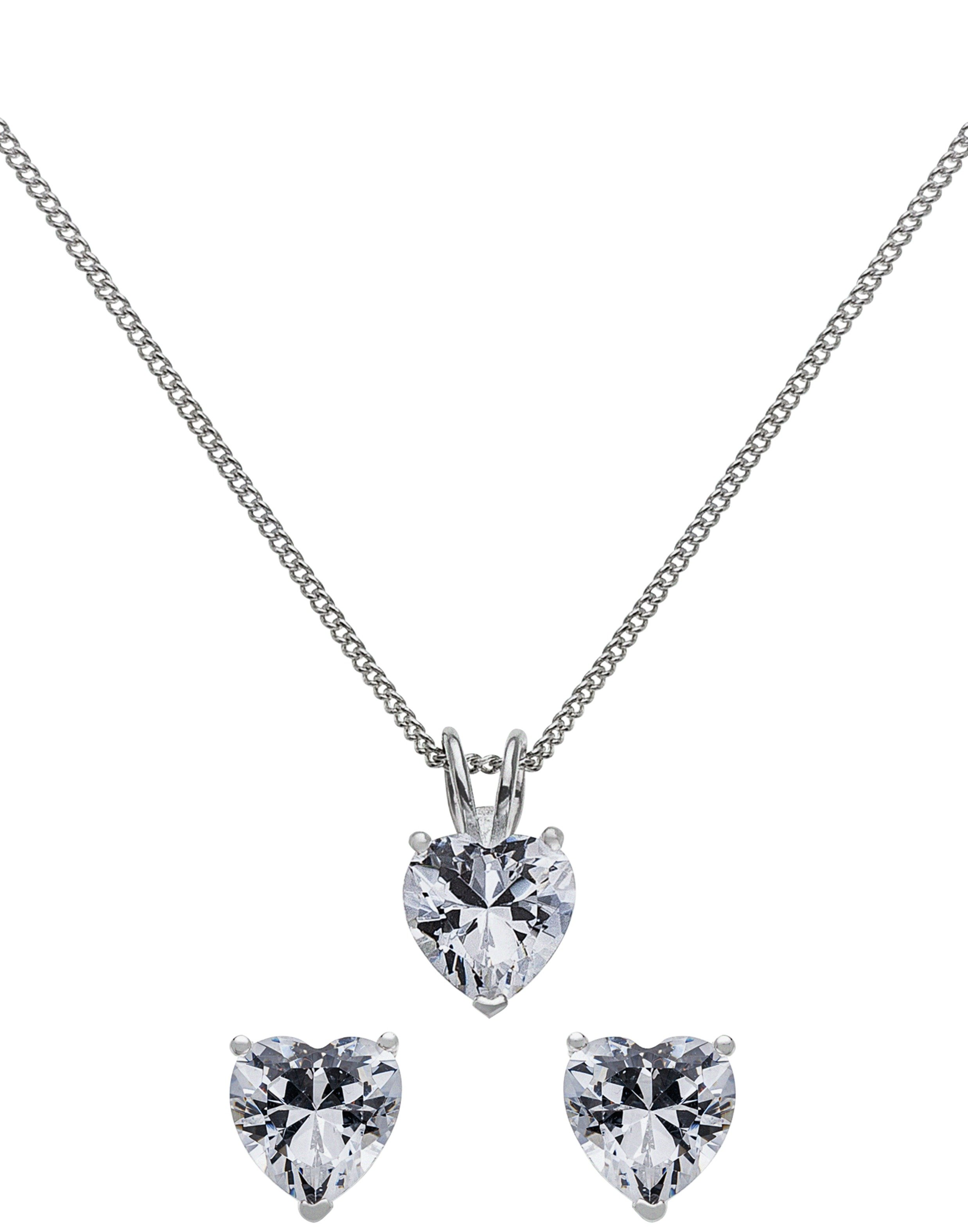 Sterling Silver - Cubic Zirconia Heart Pendant and Earrings.