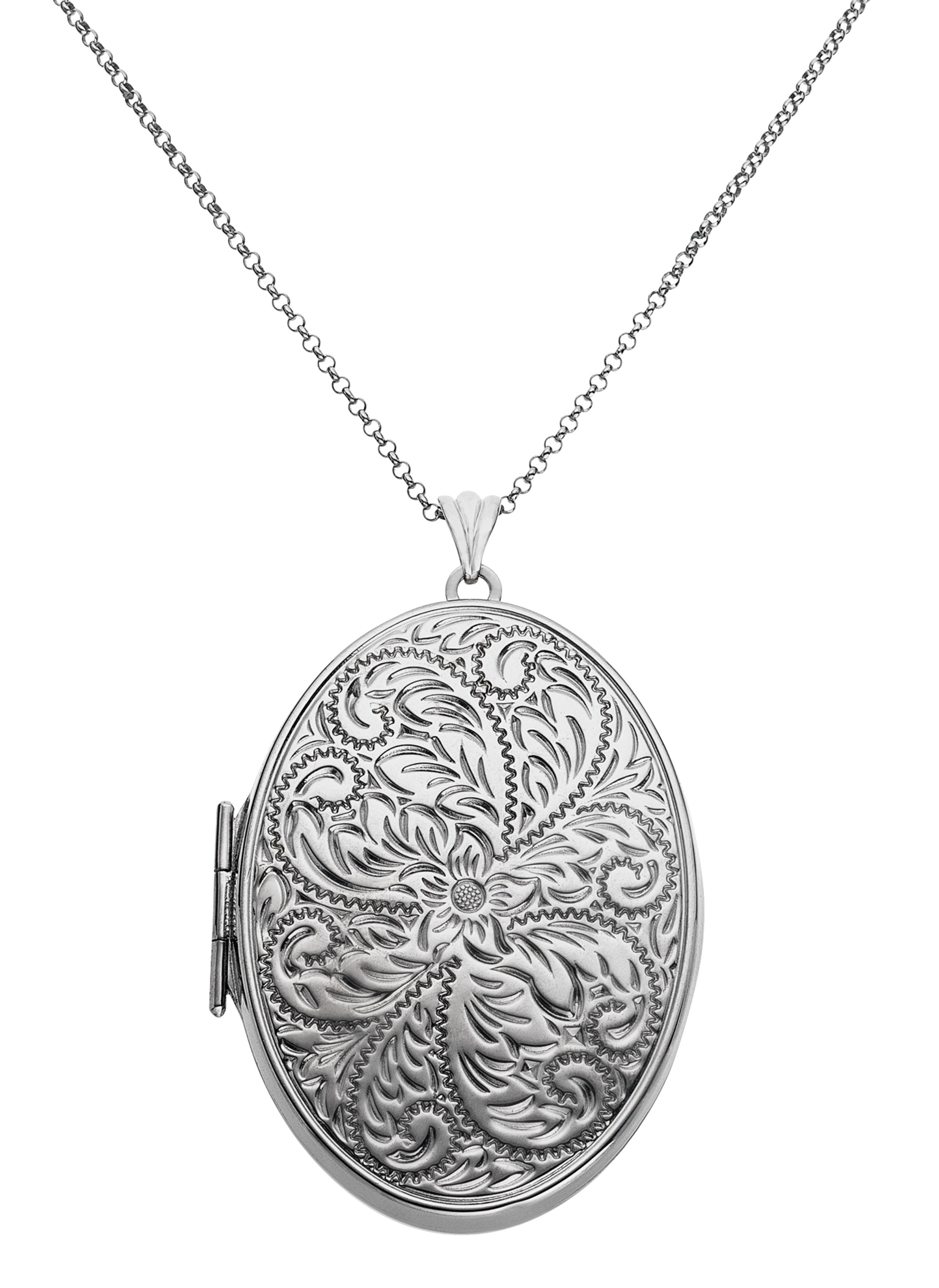 Moon & Back Sterling Silver Large Fancy Oval 2 Photo Locket