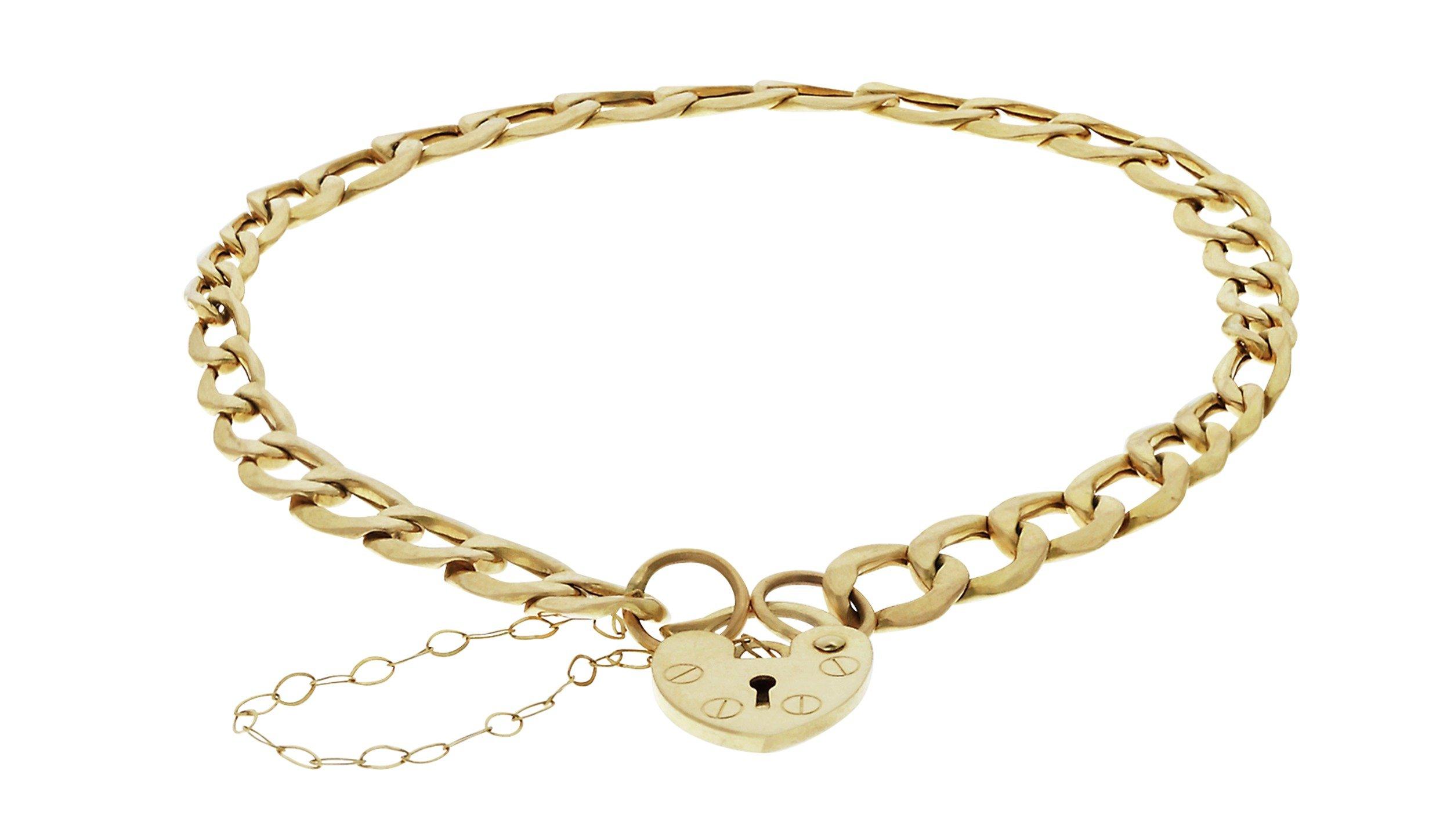 9 Carat Gold - Curb and Padlock Bracelet.
