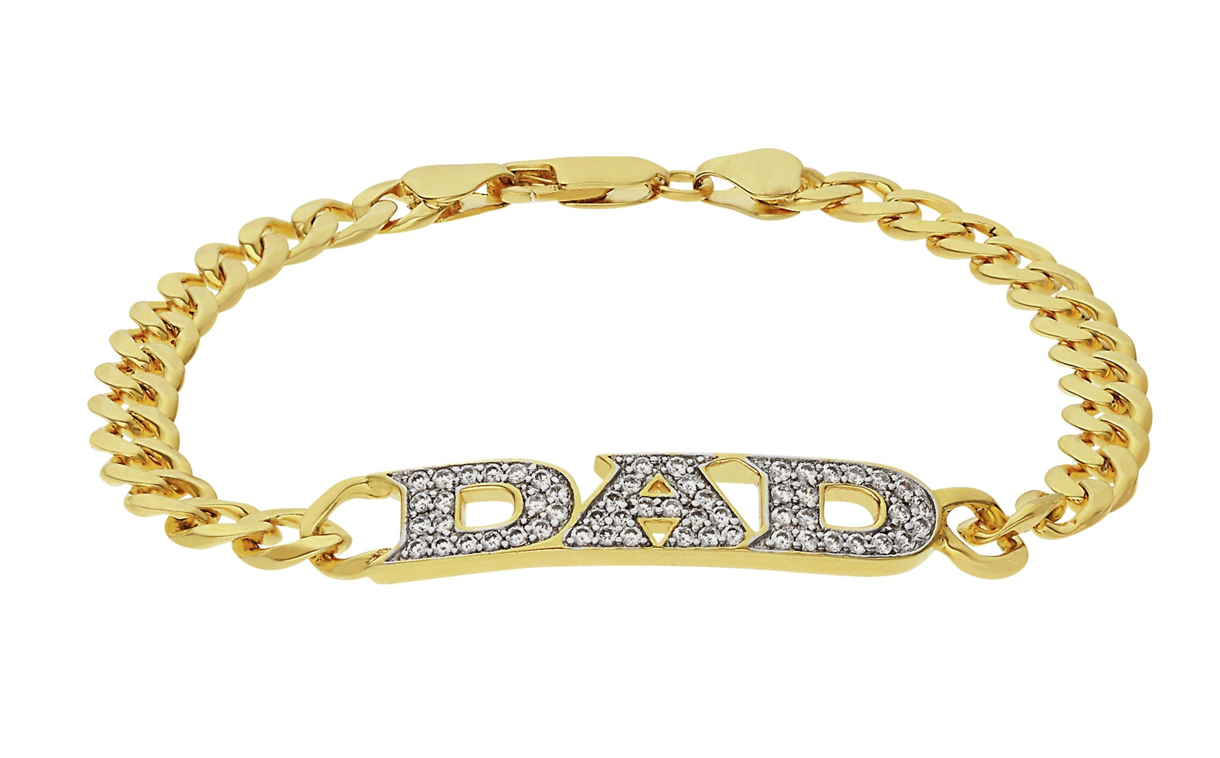 Revere Men's 18ct Gold Plated Silver CZ Dad Bracelet