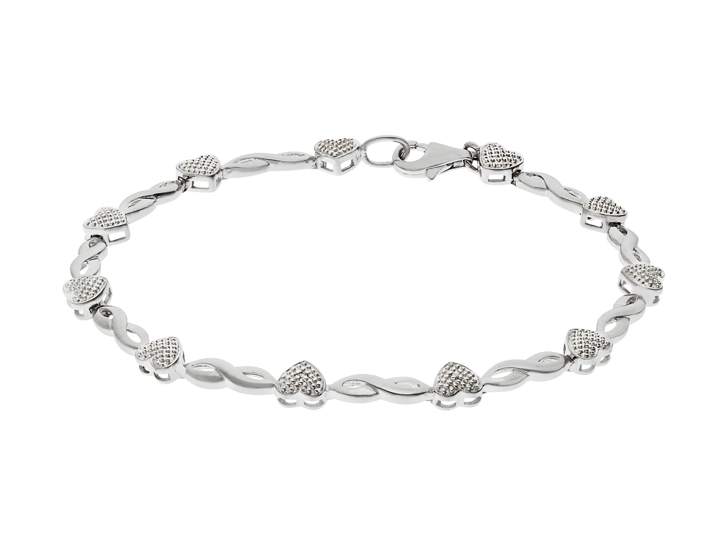 Sterling Silver - Diamond Accent Hearts and Kisses Bracelet.