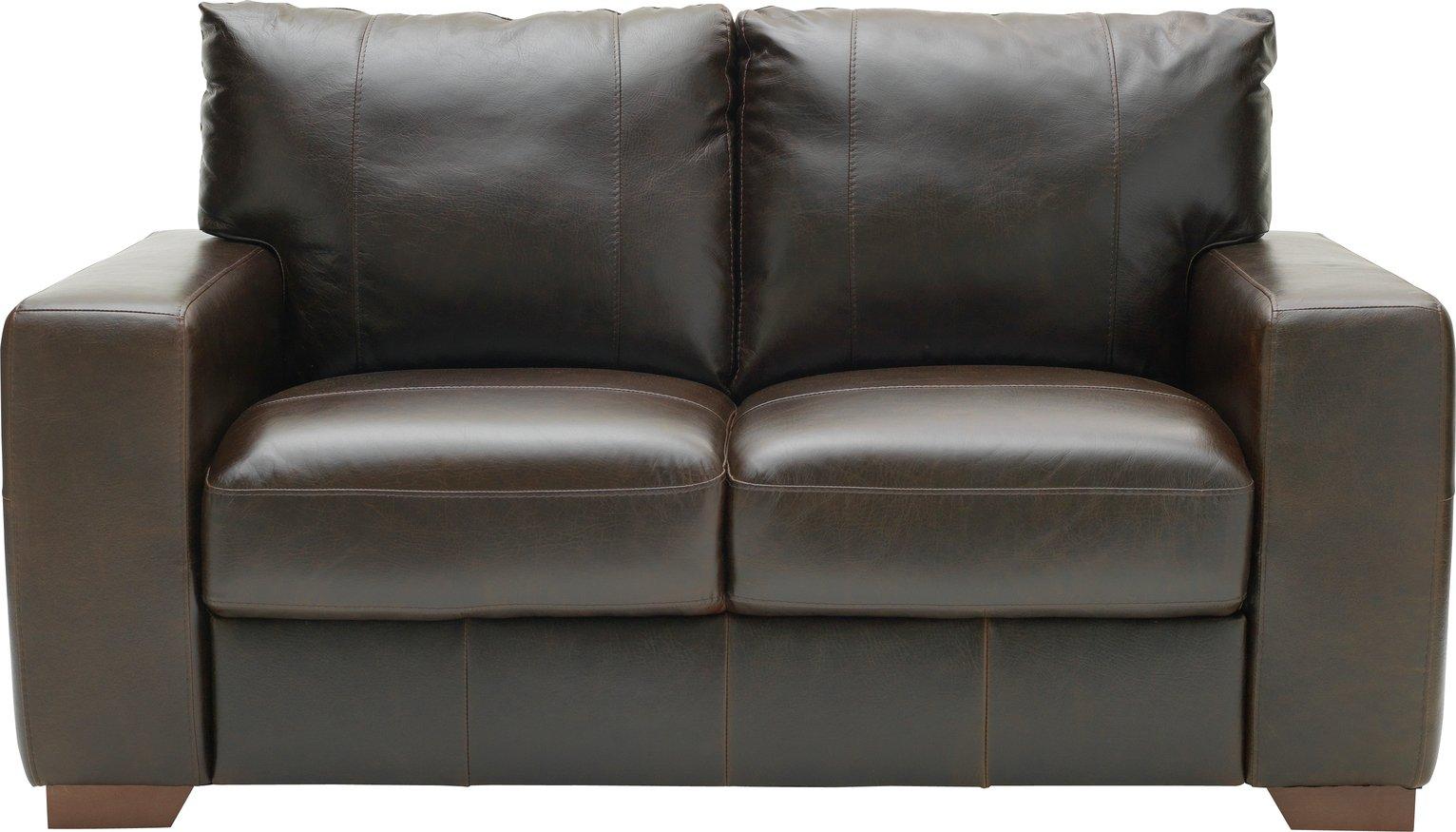 Argos Home Eton 2 Seater Leather Sofa - Dark Brown