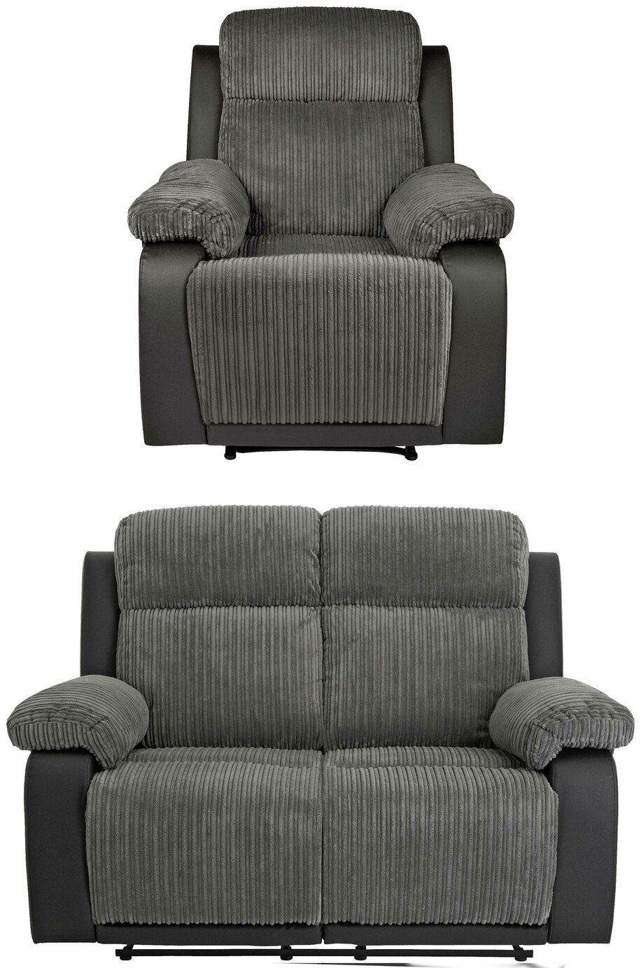 Collection Bradley 2 Seat Recliner Sofa and Chair -Charcoal