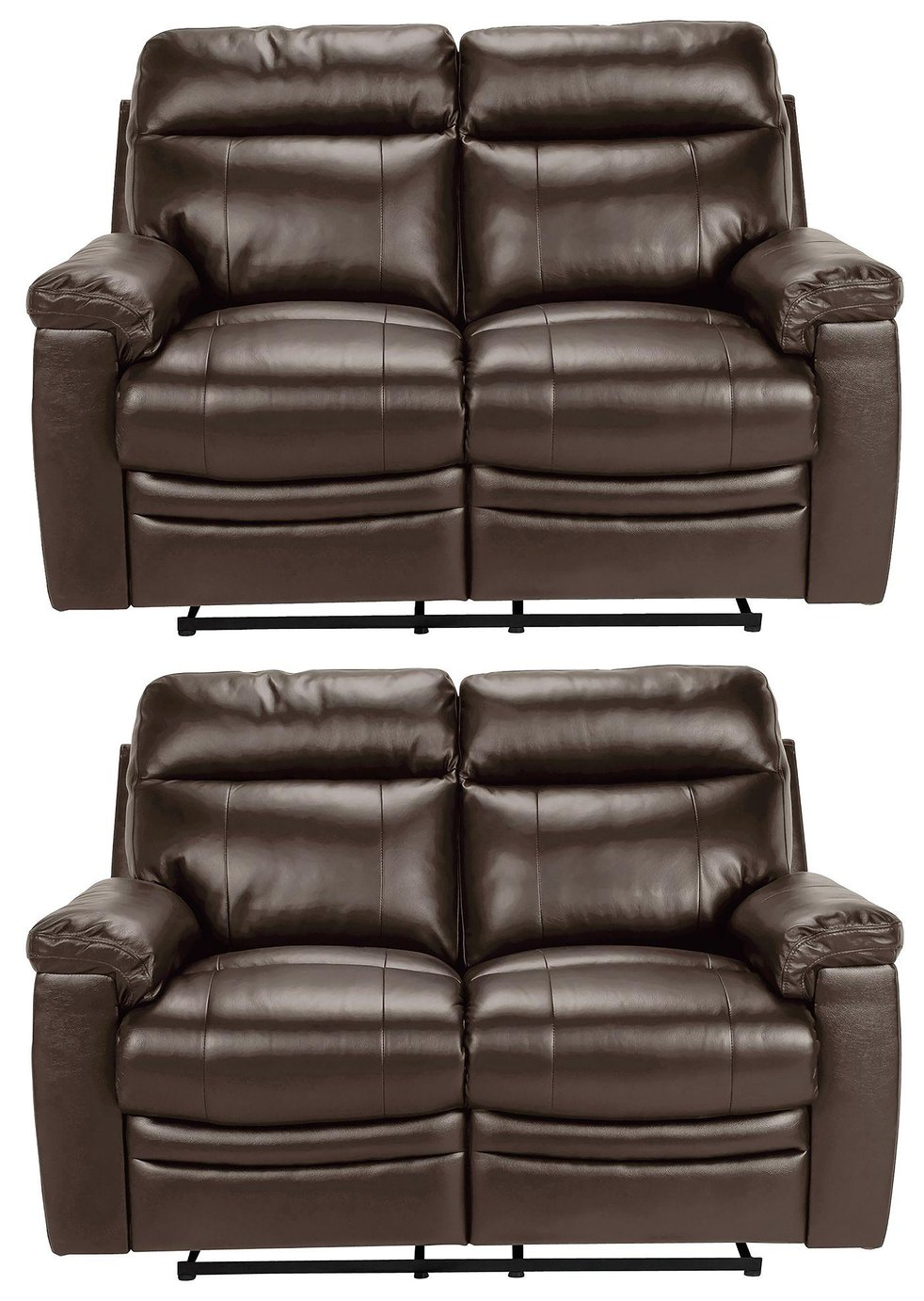 Argos Home Paolo Pair of 2 Seater Manual Recline Sofa -Brown