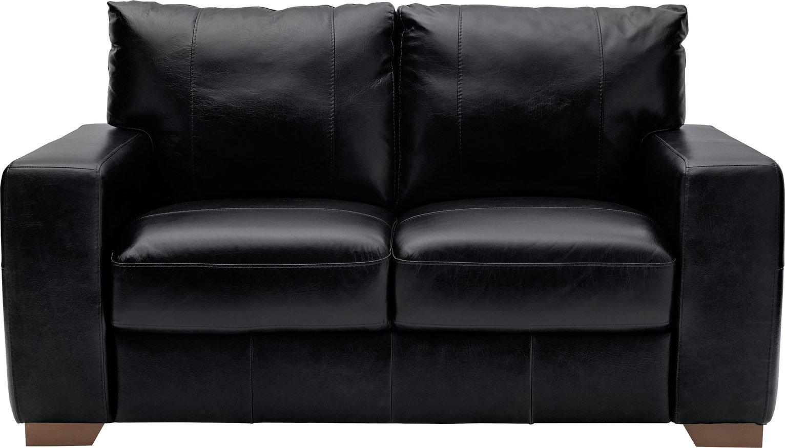 Argos Home Eton 2 Seater Leather Sofa - Black