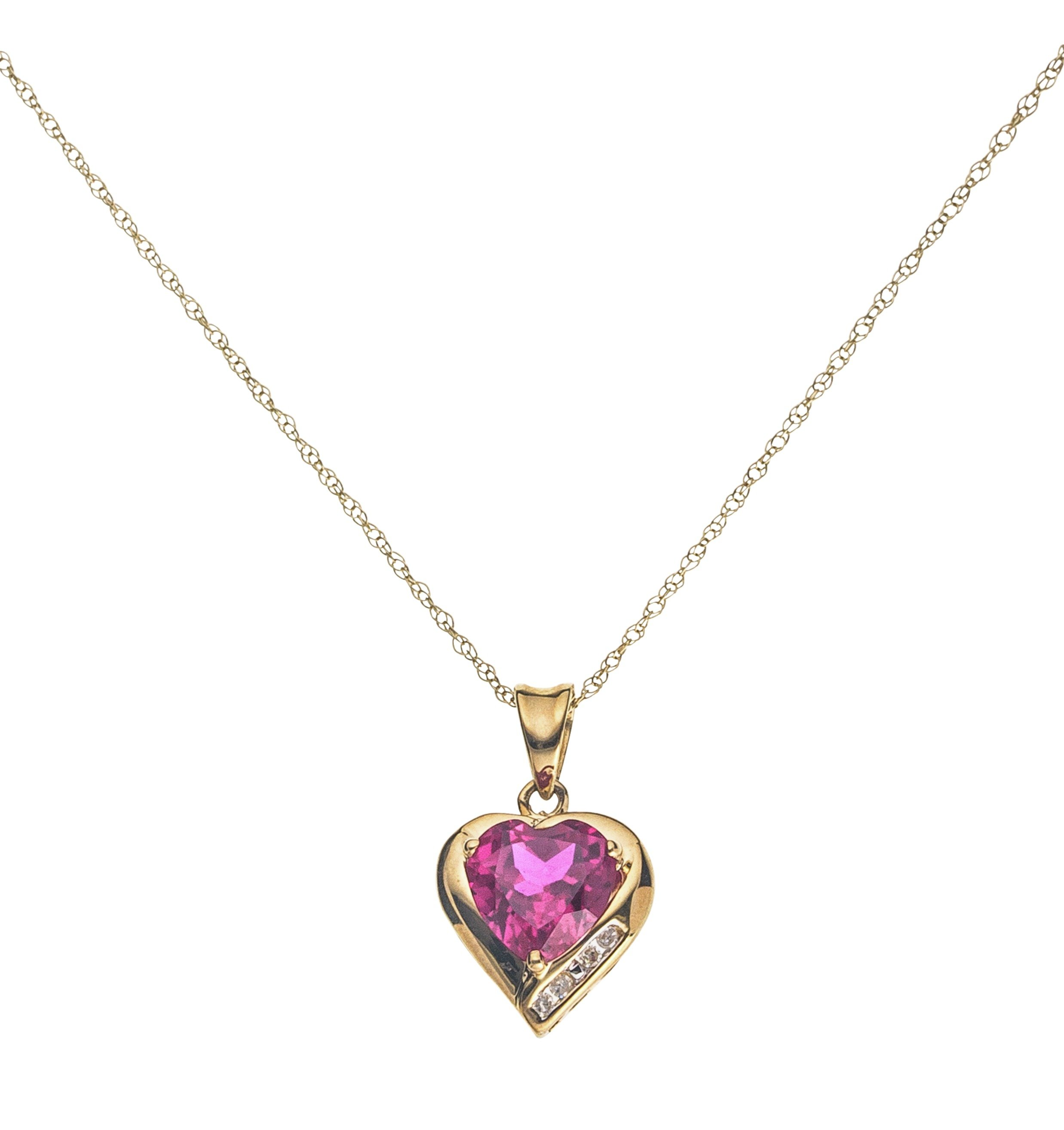 9 Carat Gold - Created Ruby and Diamond Accent Heart Pendant.