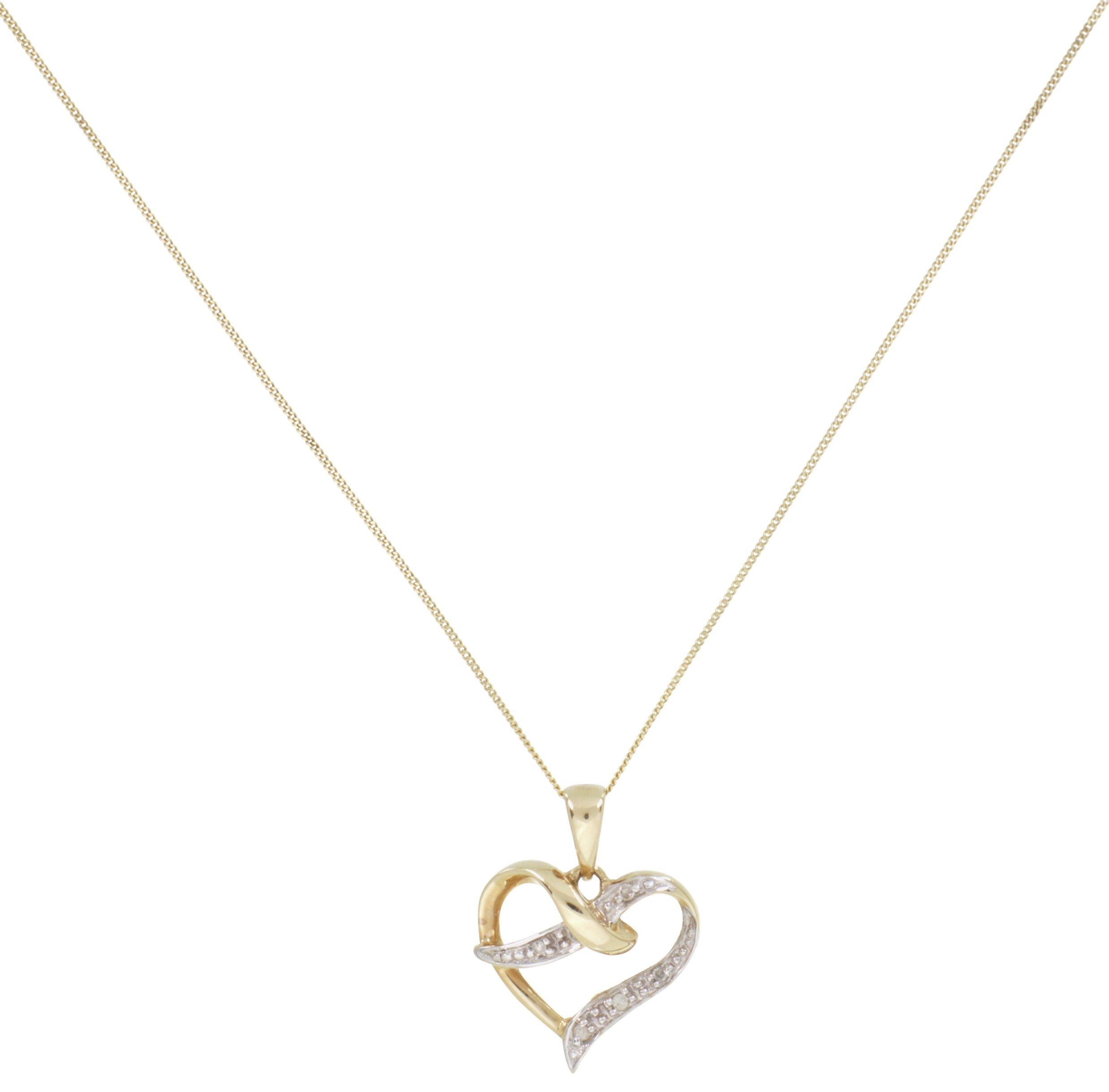 9 Carat Gold - Diamond Accent Heart Pendant.