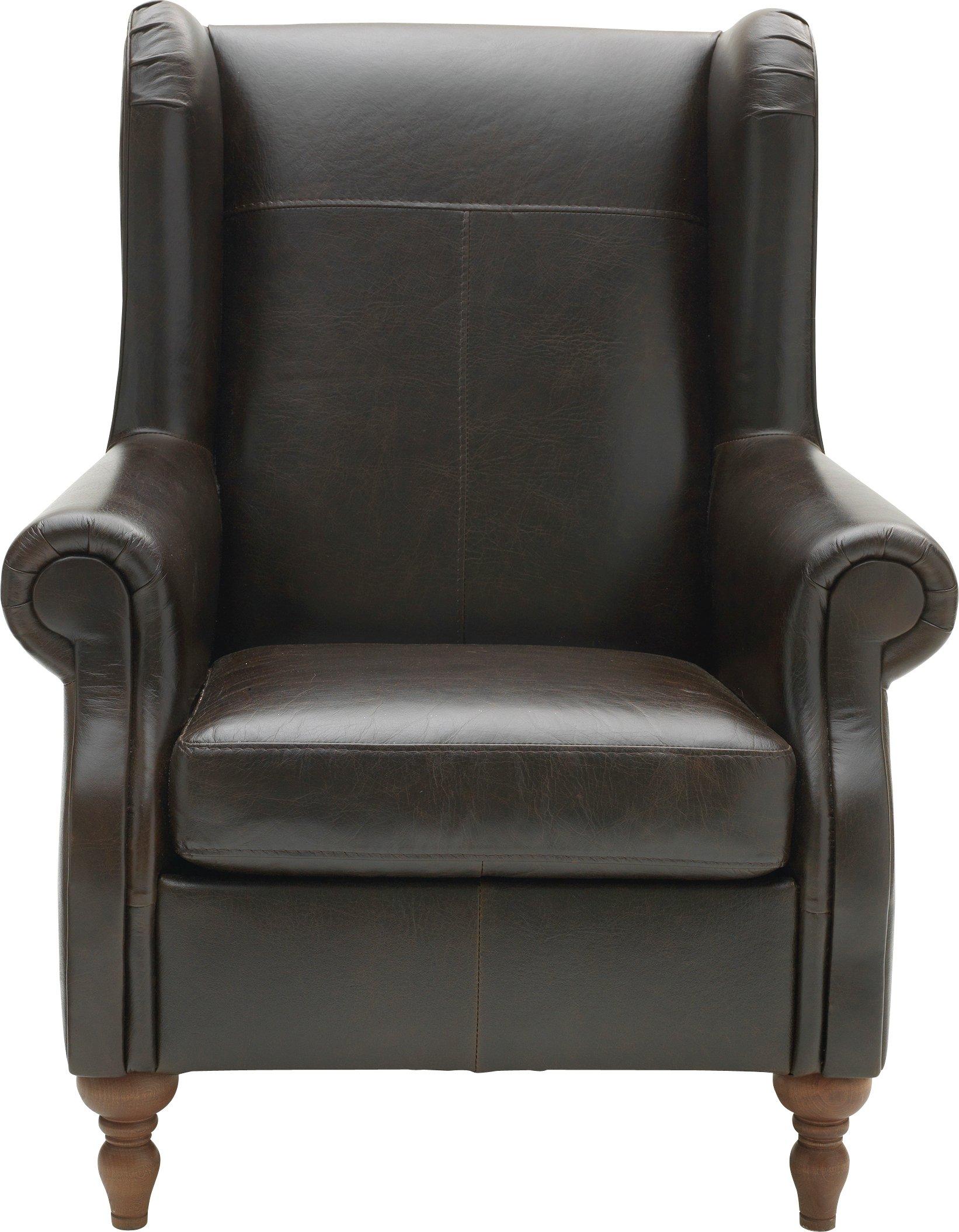Argos Home Argyll Leather High Back Chair - Dark Brown