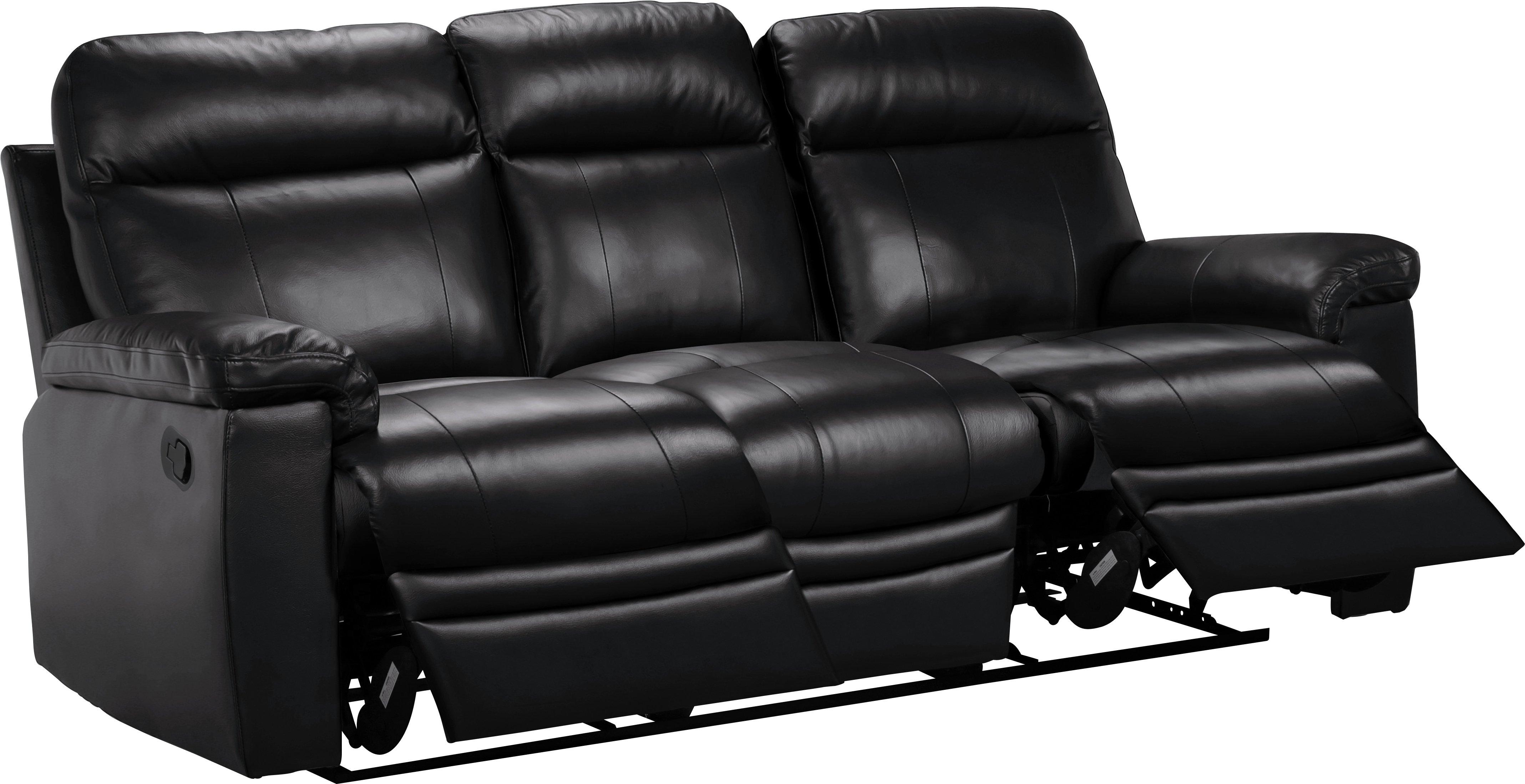 Argos Home Paolo 3 Seater Manual Recliner Sofa - Black