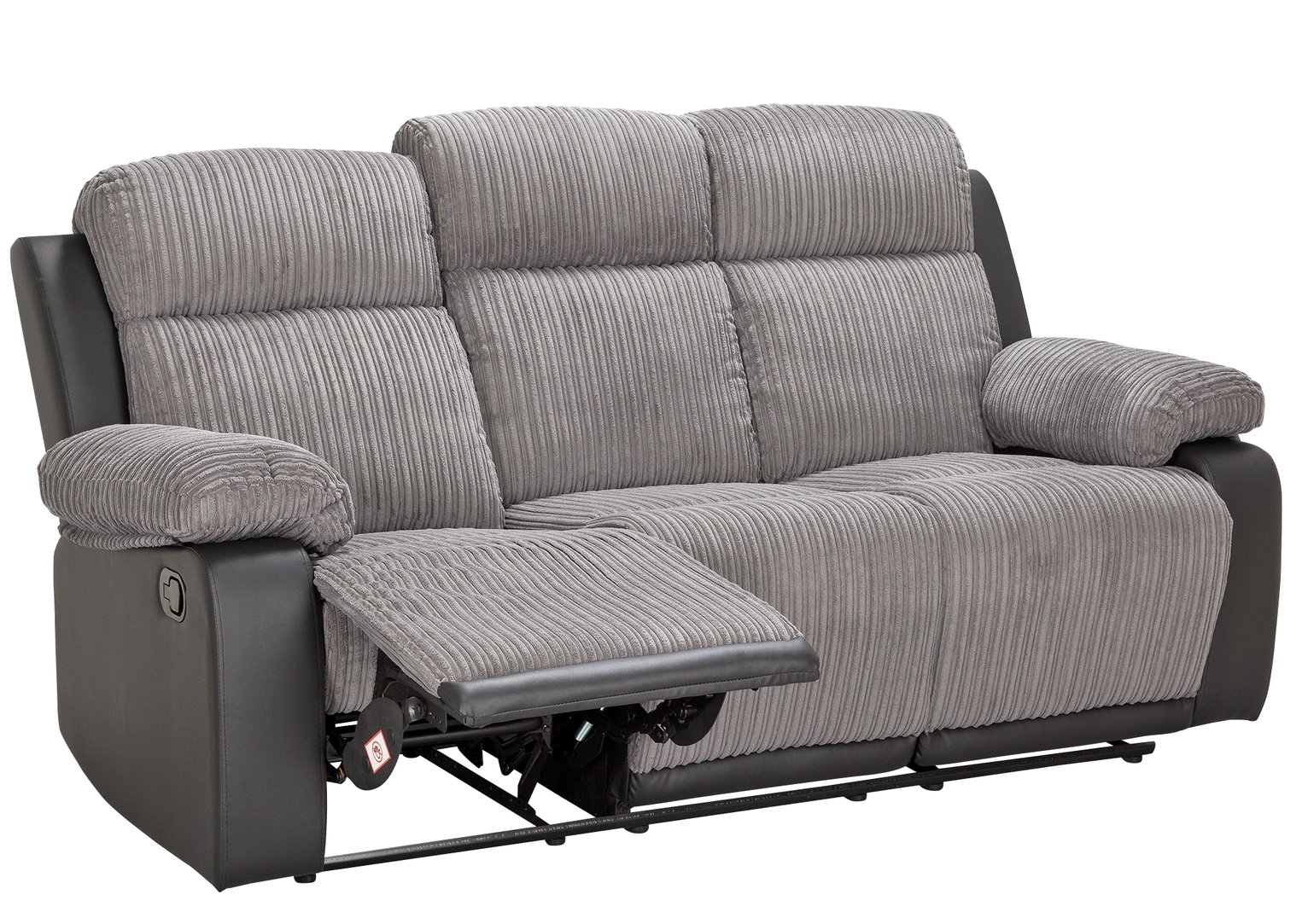 Collection Bradley 3 Seater Manual Recliner Sofa - Charcoal