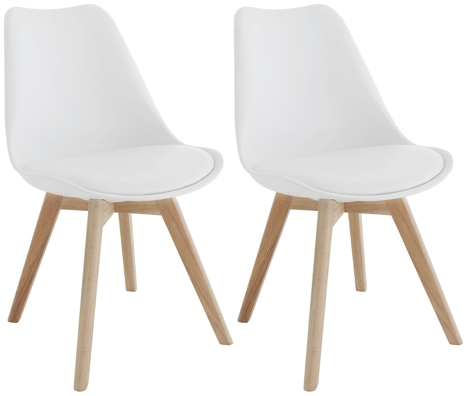 Habitat Jerry Pair of Dining Chairs - White